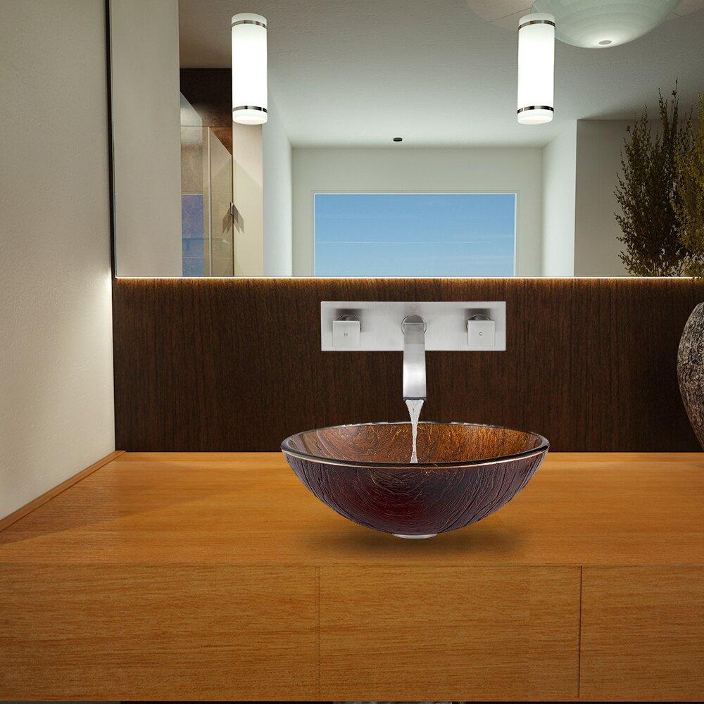 Innovative Kenyan Twilight Glass Vessel Bathroom Sink And Seville Vessel Faucet