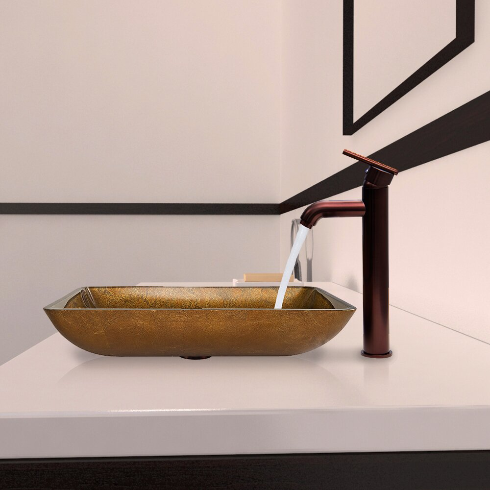 Vigo Rectangular Copper Glass Vessel Bathroom Sink and Seville Vessel ...