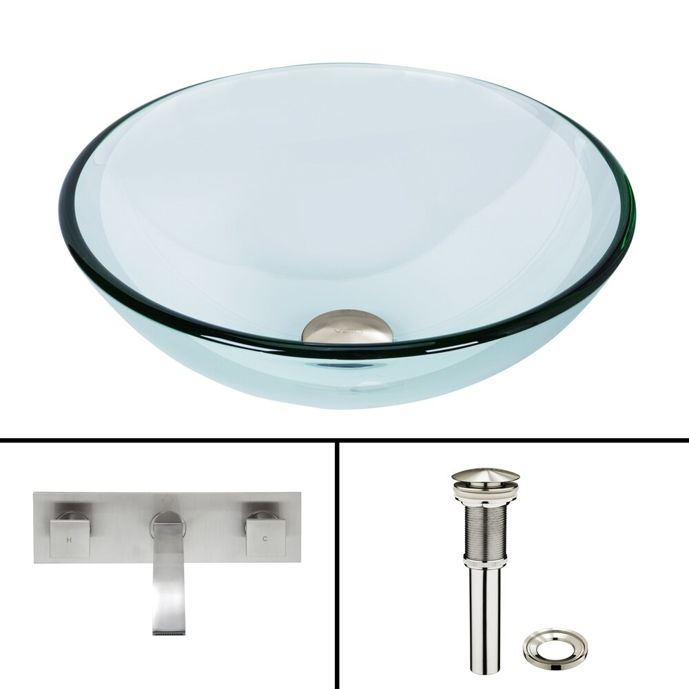 ... Glass Vessel Bathroom Sink and Titus Wall Mount Faucet with Pop Up