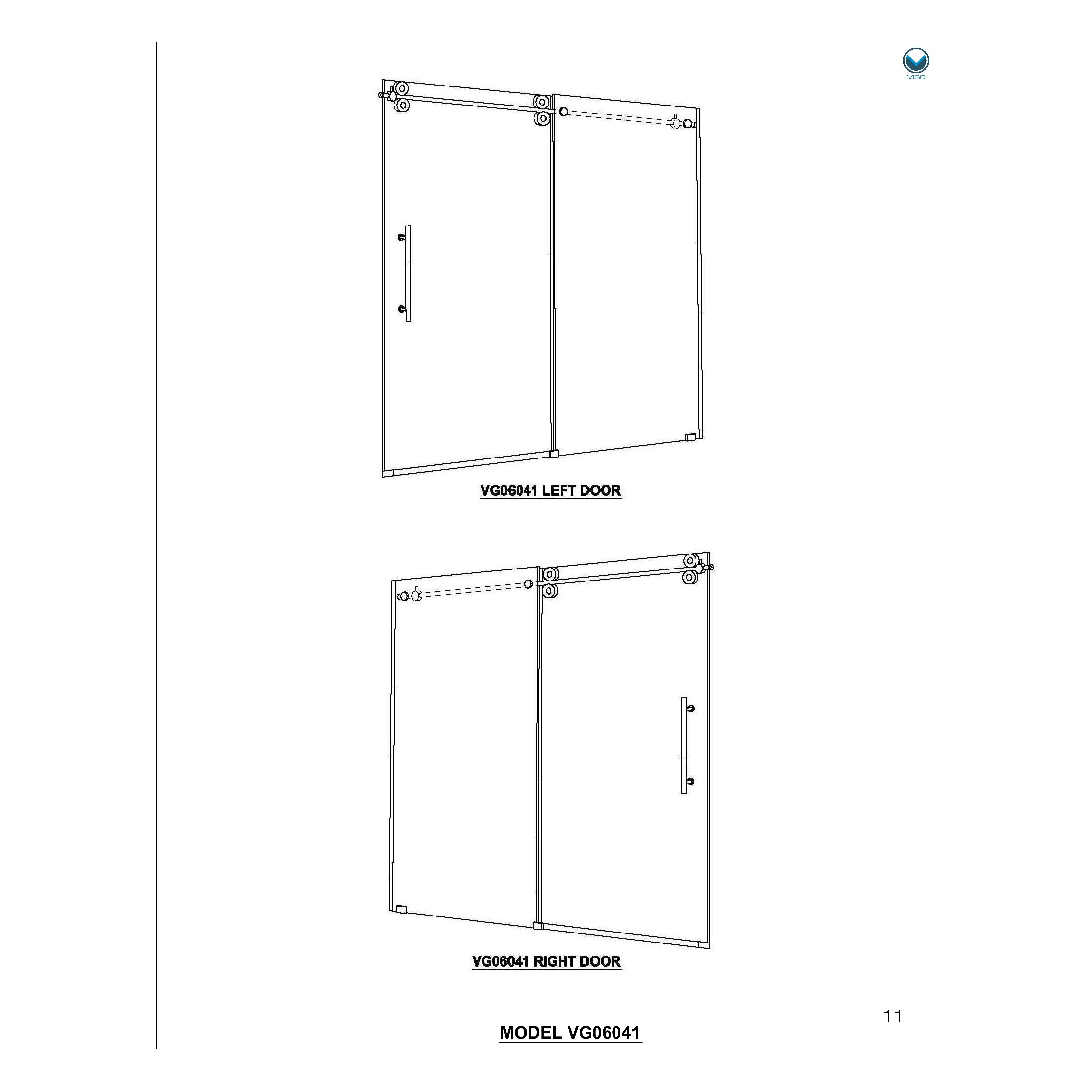 Vigo Elan 74 Quot X 52 Quot Frameless Shower Door 0 375 Quot Clear