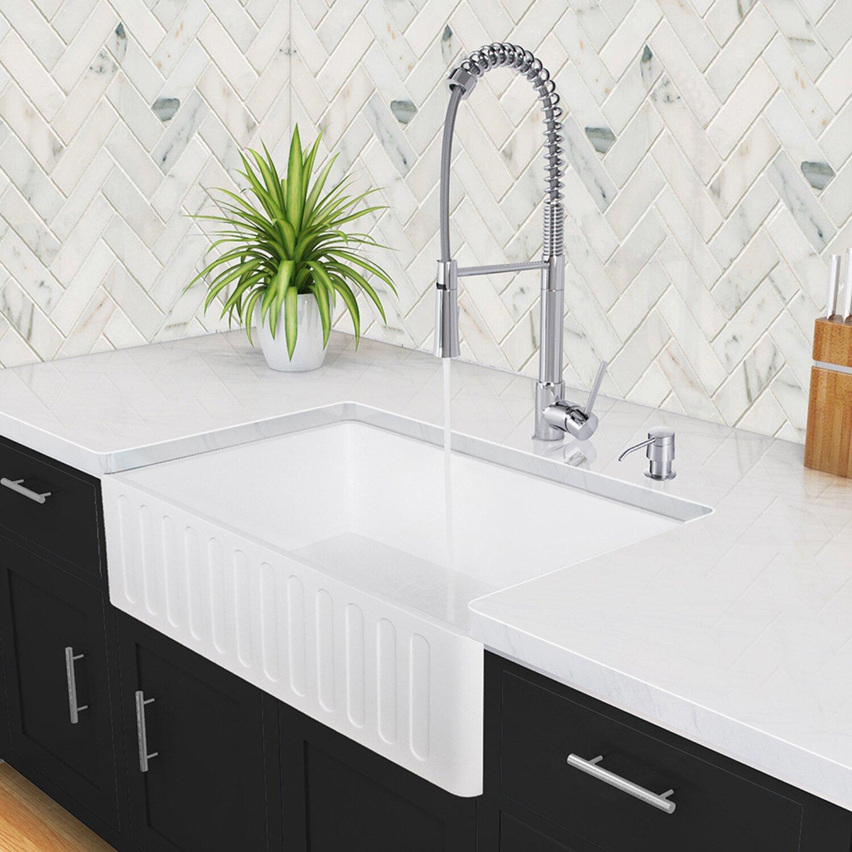 36 In Farmhouse Sink : Vigo 36 inch Farmhouse Apron Single Bowl Matte Stone Kitchen Sink ...