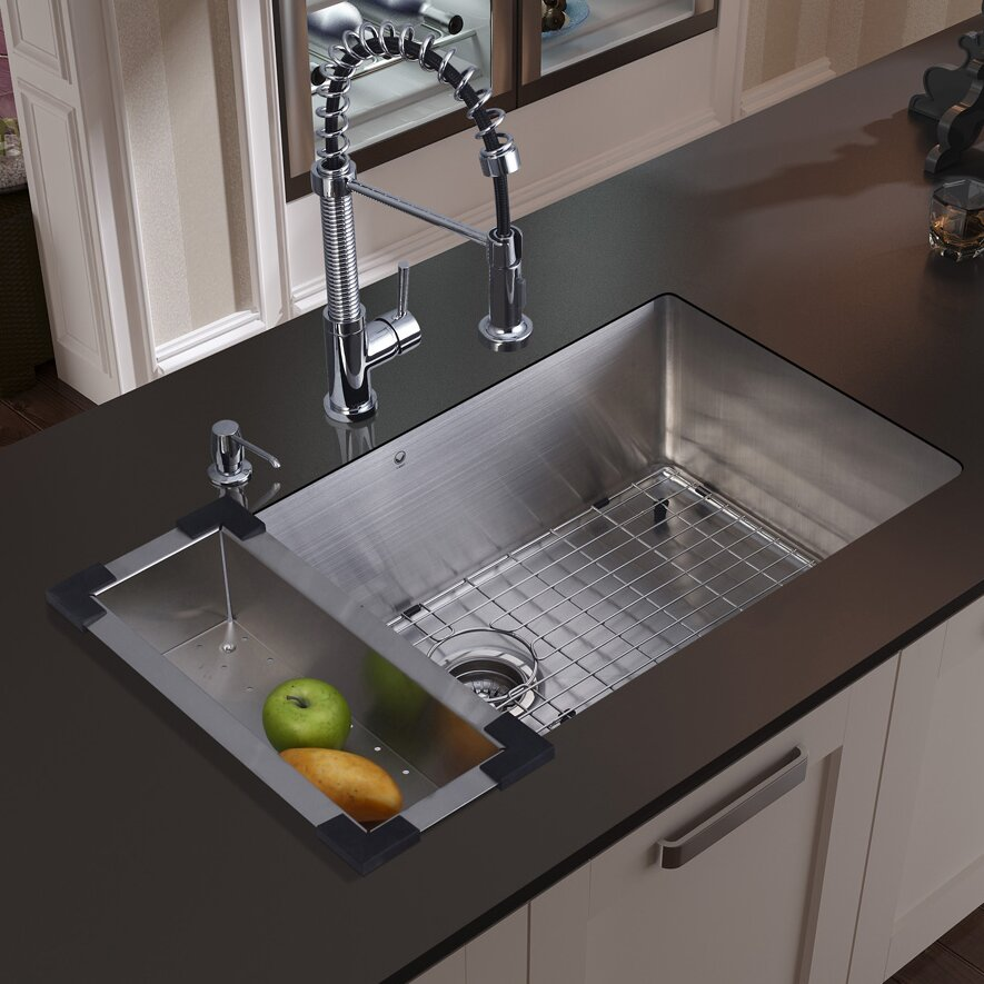 30 Kitchen Sink : 30 inch Undermount Single Bowl 16 Gauge Stainless Steel Kitchen Sink ...