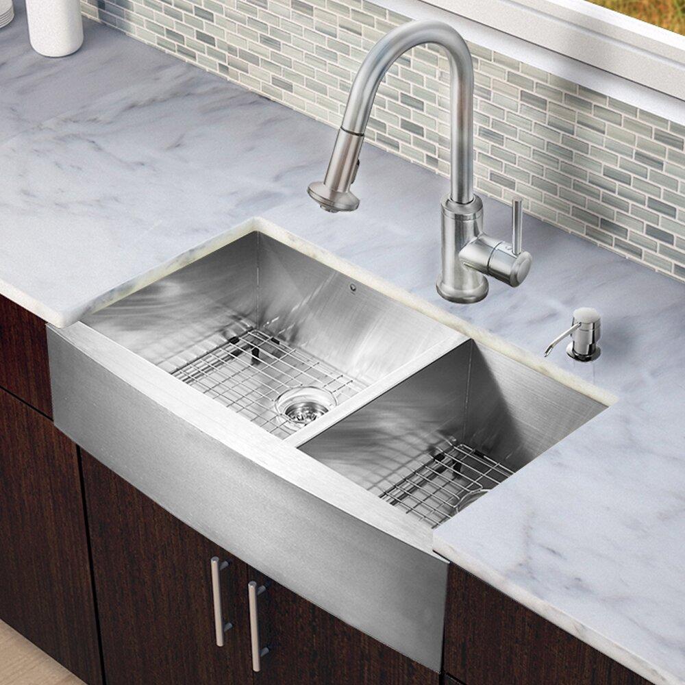 Vigo Camden Farmhouse Single Bowl Kitchen Sink: Vigo 36 Inch Farmhouse Apron 60/40 Double Bowl 16 Gauge