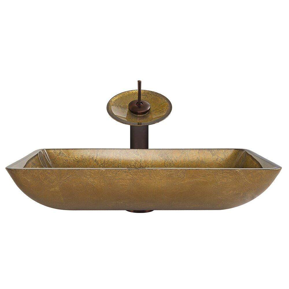 Rectangular Glass Vessel Sink : Rectangular Copper Glass Vessel Bathroom Sink and Waterfall Faucet ...