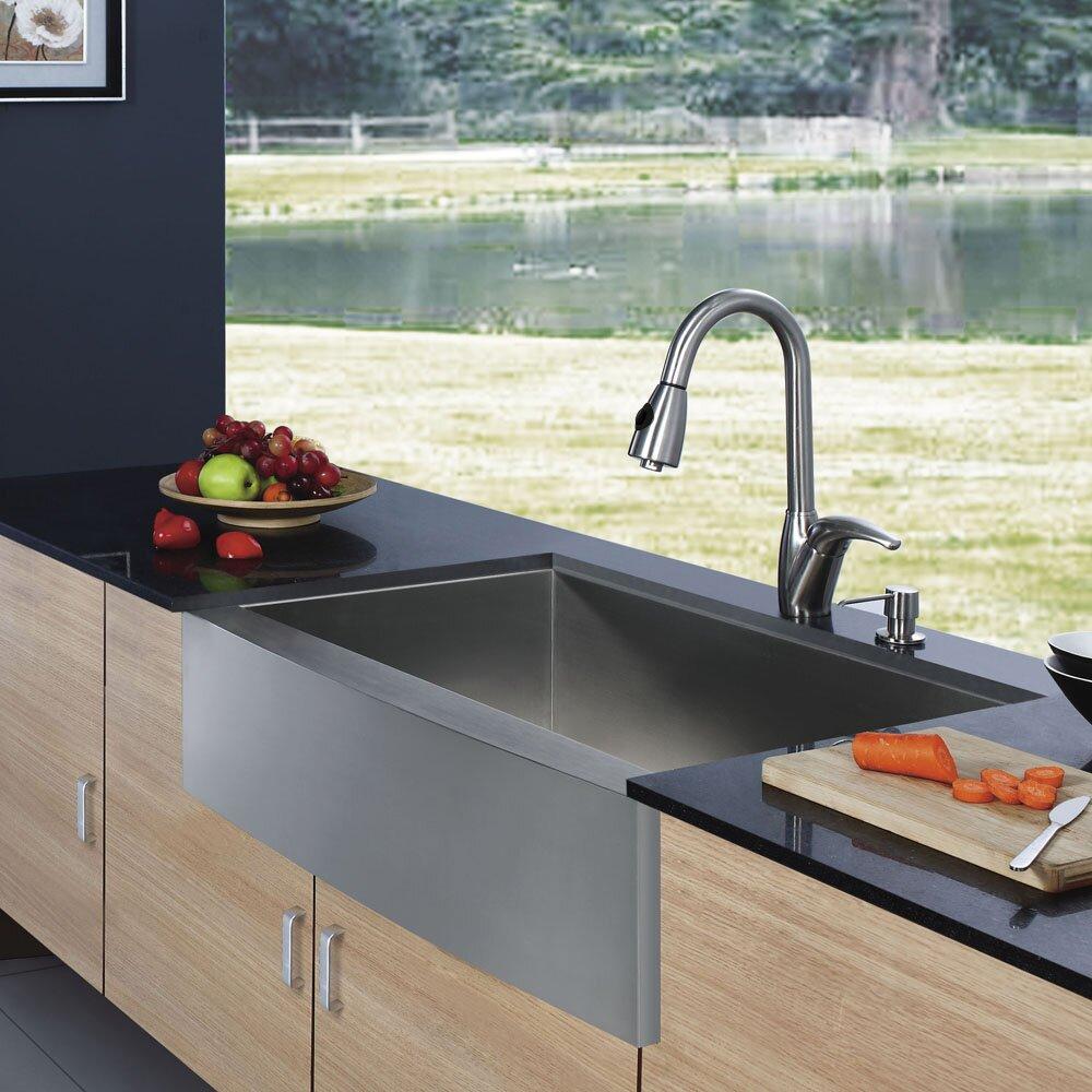 Farmhouse Sink Single Bowl : inch Farmhouse Apron Single Bowl 16 Gauge Stainless Steel Kitchen Sink ...