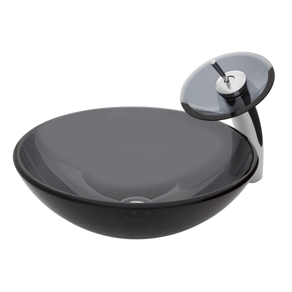 Sink With Faucet : ... Glass Vessel Bathroom Sink and Waterfall Faucet with Pop Up by Vigo