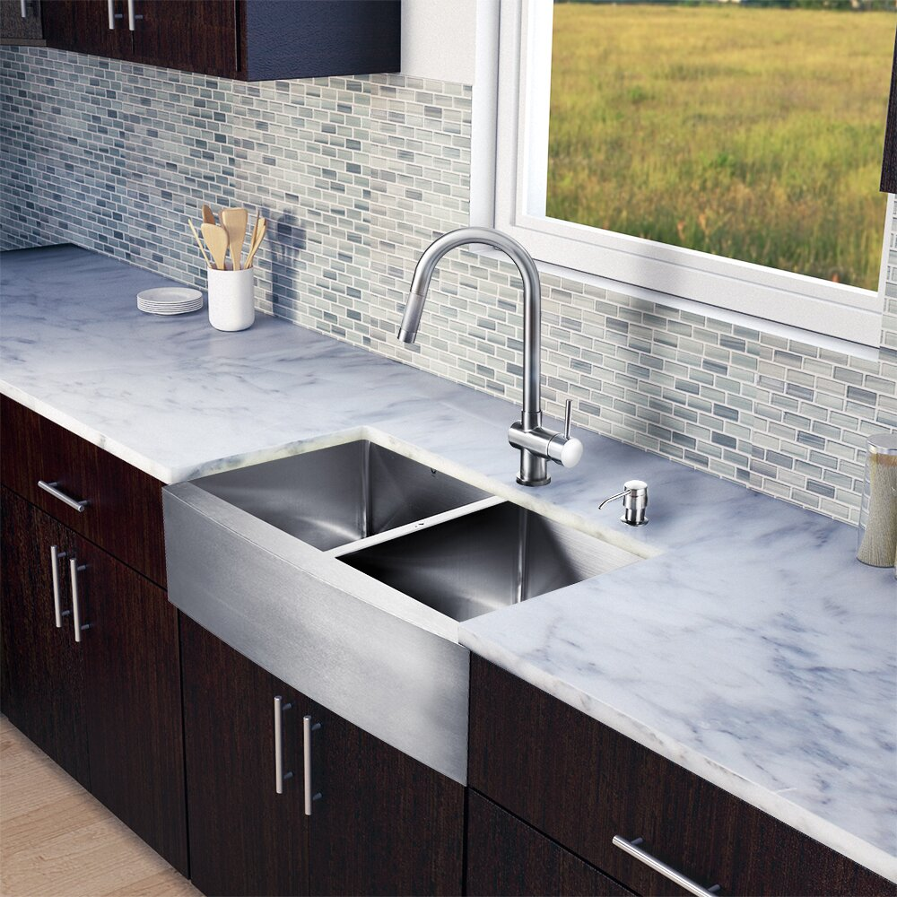 33 Inch Stainless Steel Farmhouse Sink : 33 inch Farmhouse Apron 60/40 Double Bowl 16 Gauge Stainless Steel ...