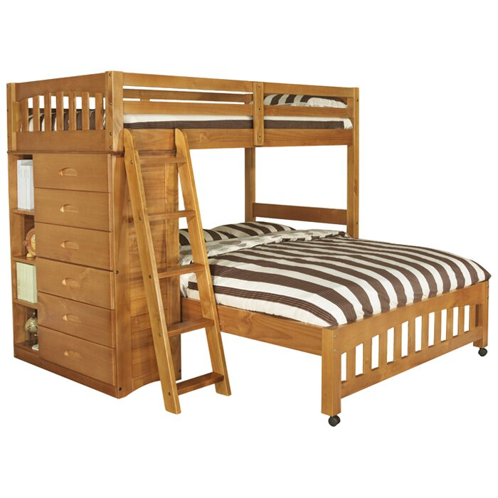 Discovery world furniture weston twin over full l shaped for Twin over full bunk bed