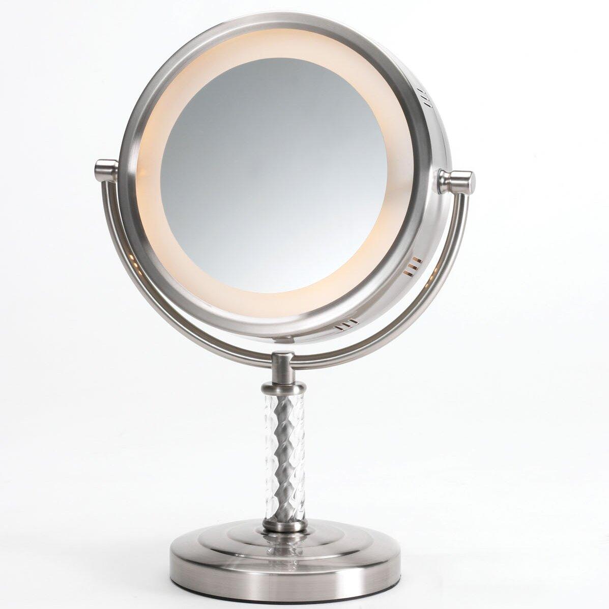 Lighted Vanity Mirror Reviews : Jerdon Dual Sided Halo Lighted Vanity Mirror & Reviews Wayfair