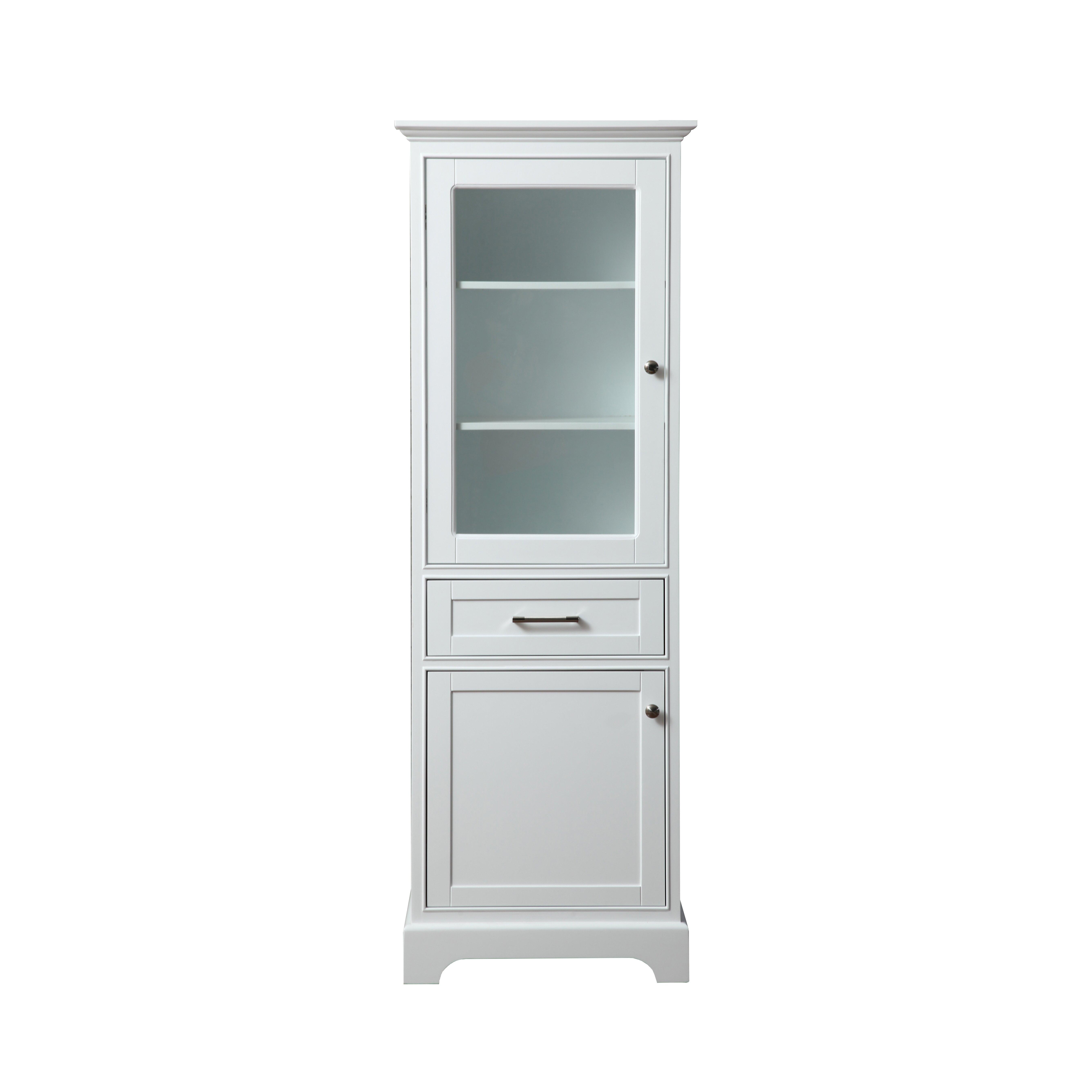 Morgan 24 x 72 free standing linen tower wayfair - Free standing linen cabinets for bathroom ...