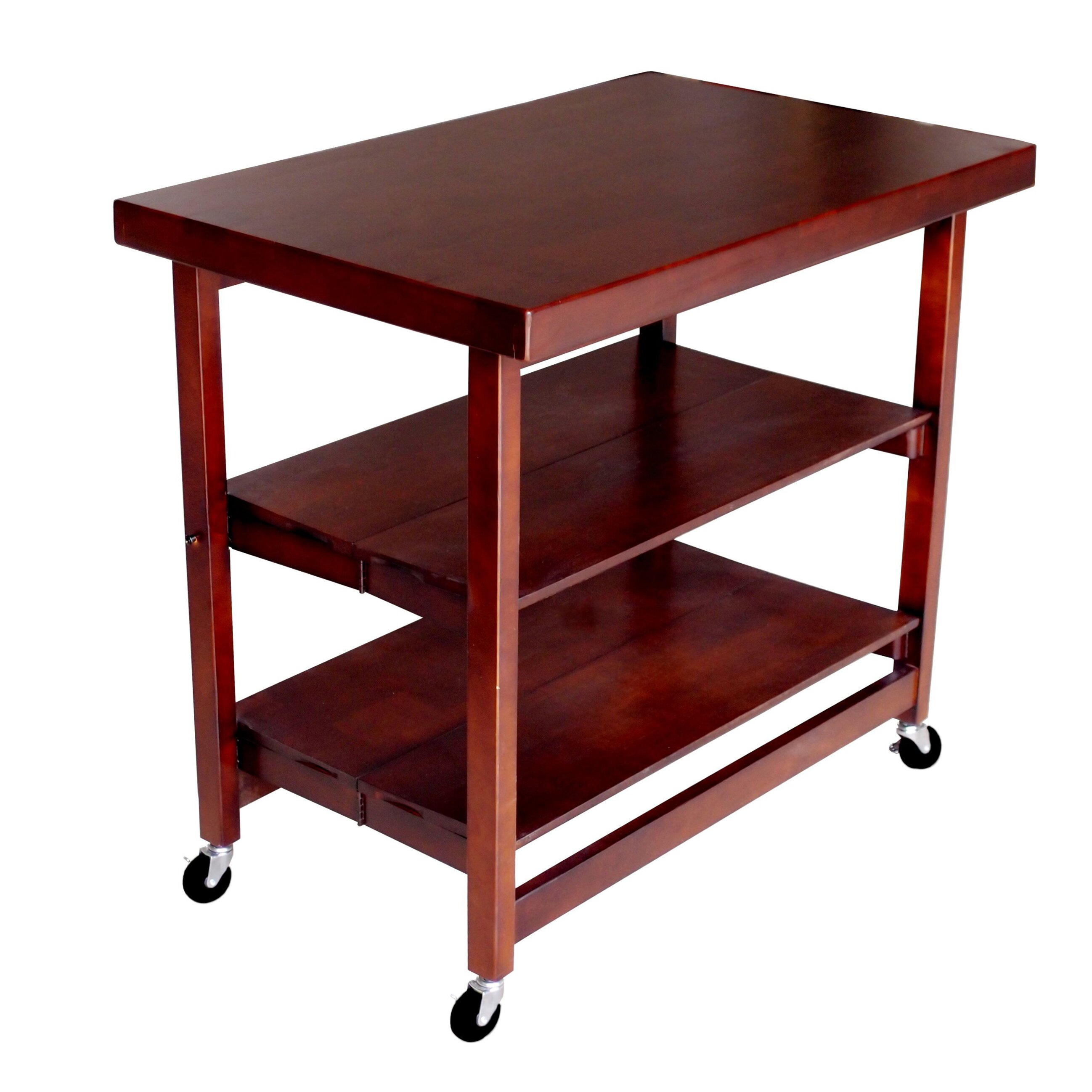 Folding Island Rectangular Kitchen Cart