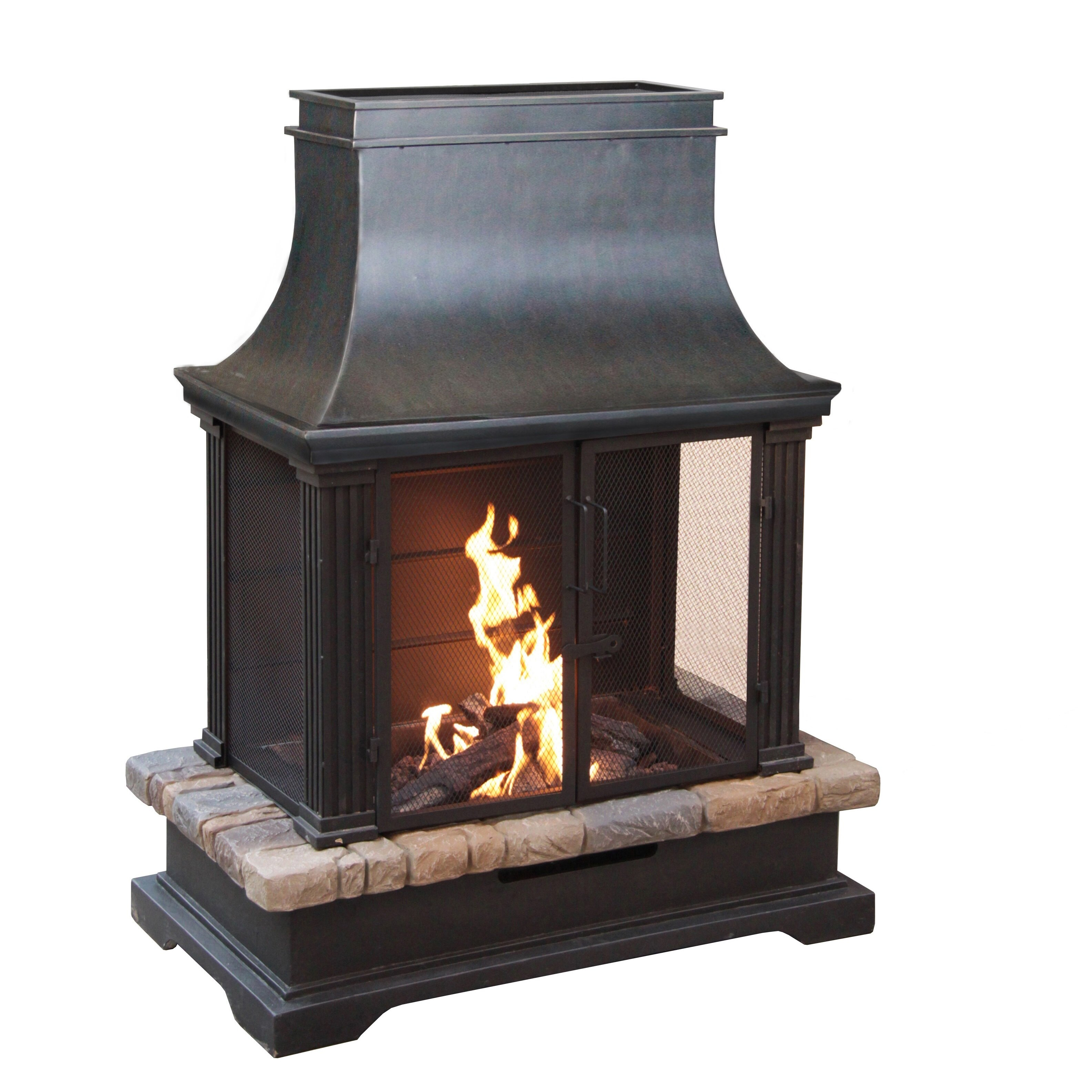 Bond Sevilla Steel and Slate Outdoor Fireplace & Reviews ... on Quillen Steel Outdoor Fireplace id=67343