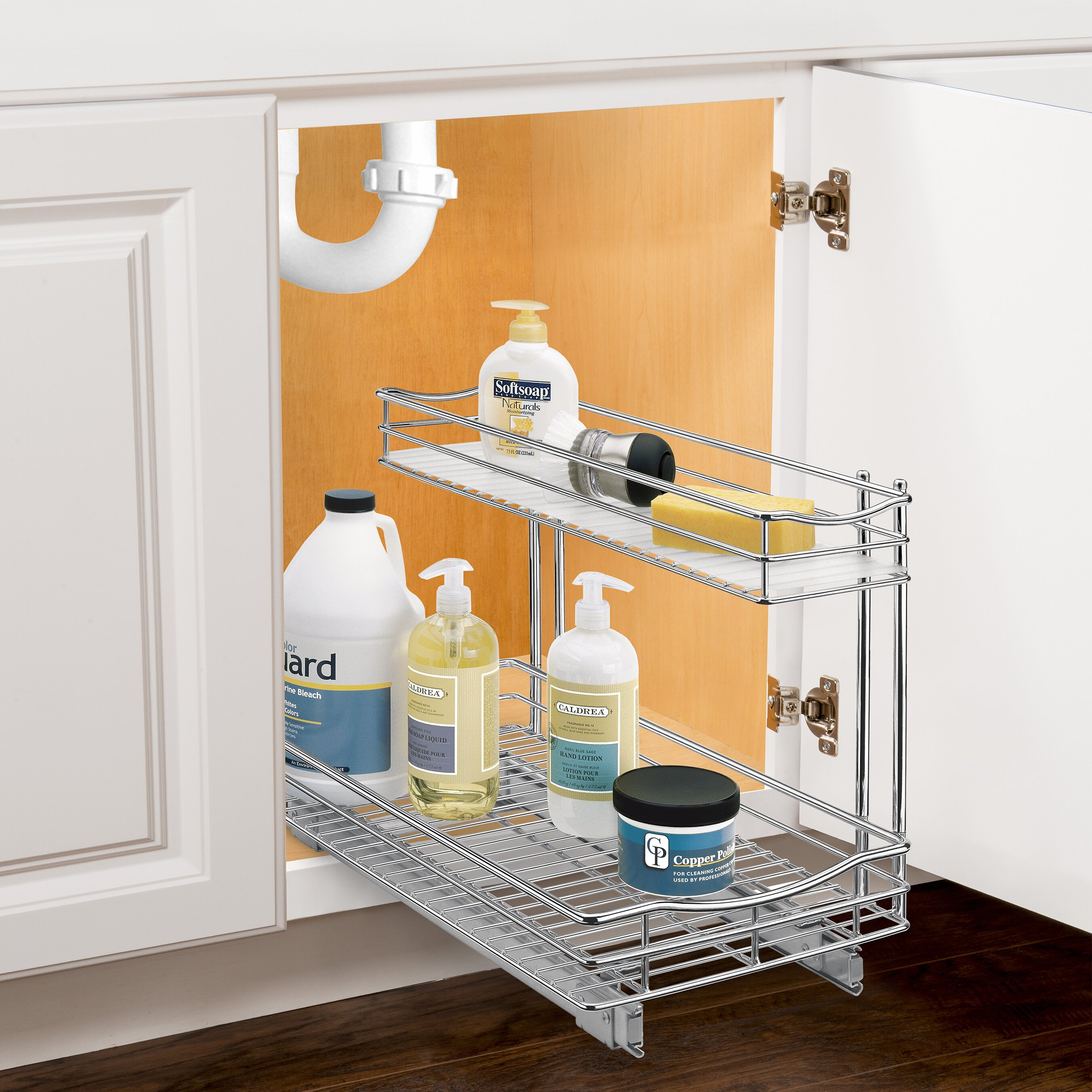 lynk lynk professional roll out under sink cabinet organizer pull out two tier sliding shelf. Black Bedroom Furniture Sets. Home Design Ideas