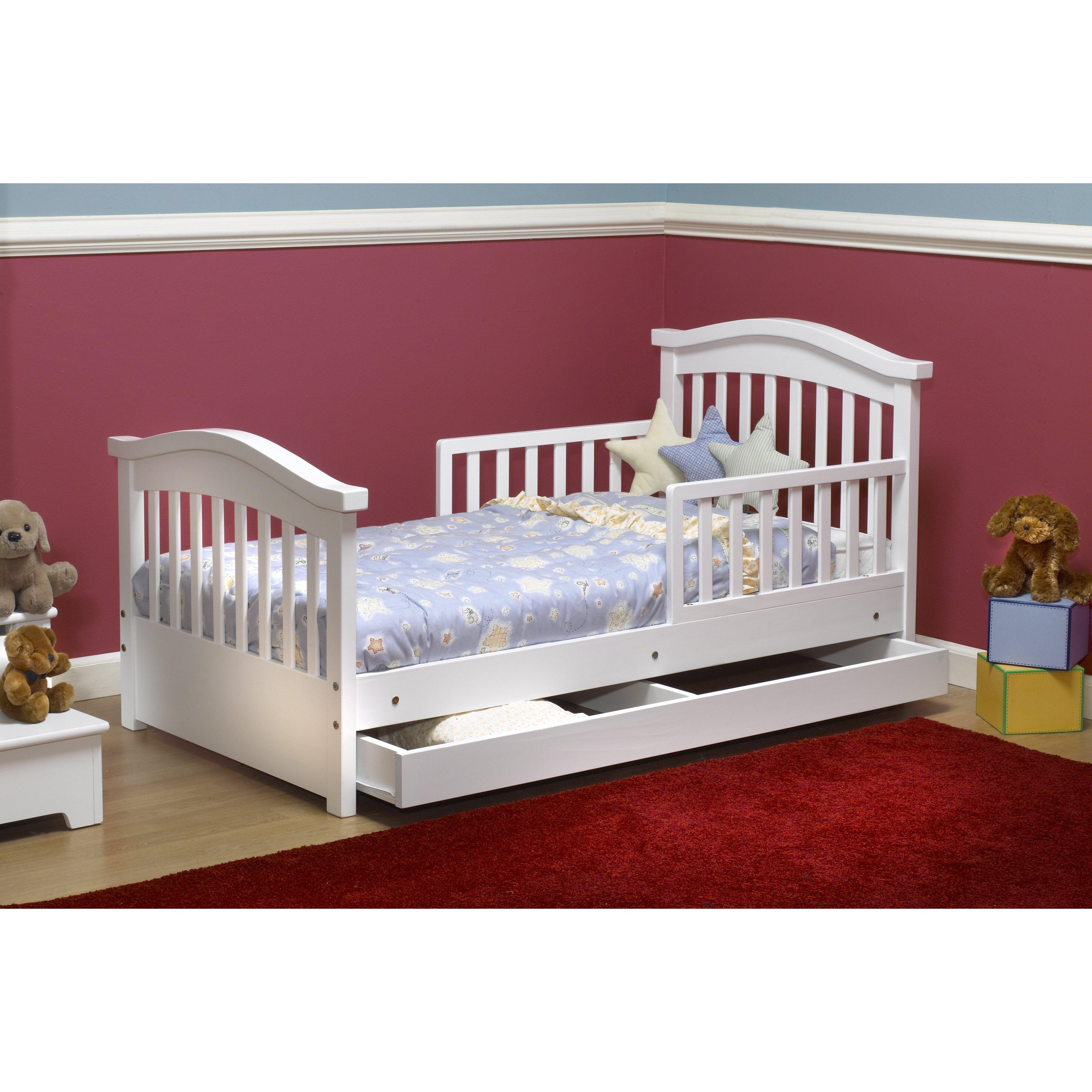 sorelle joel pine convertible toddler bed with storage reviews wayfair. Black Bedroom Furniture Sets. Home Design Ideas