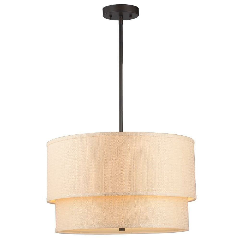 World Imports Lighting Kole 3 Light Double Drum Pendant ...
