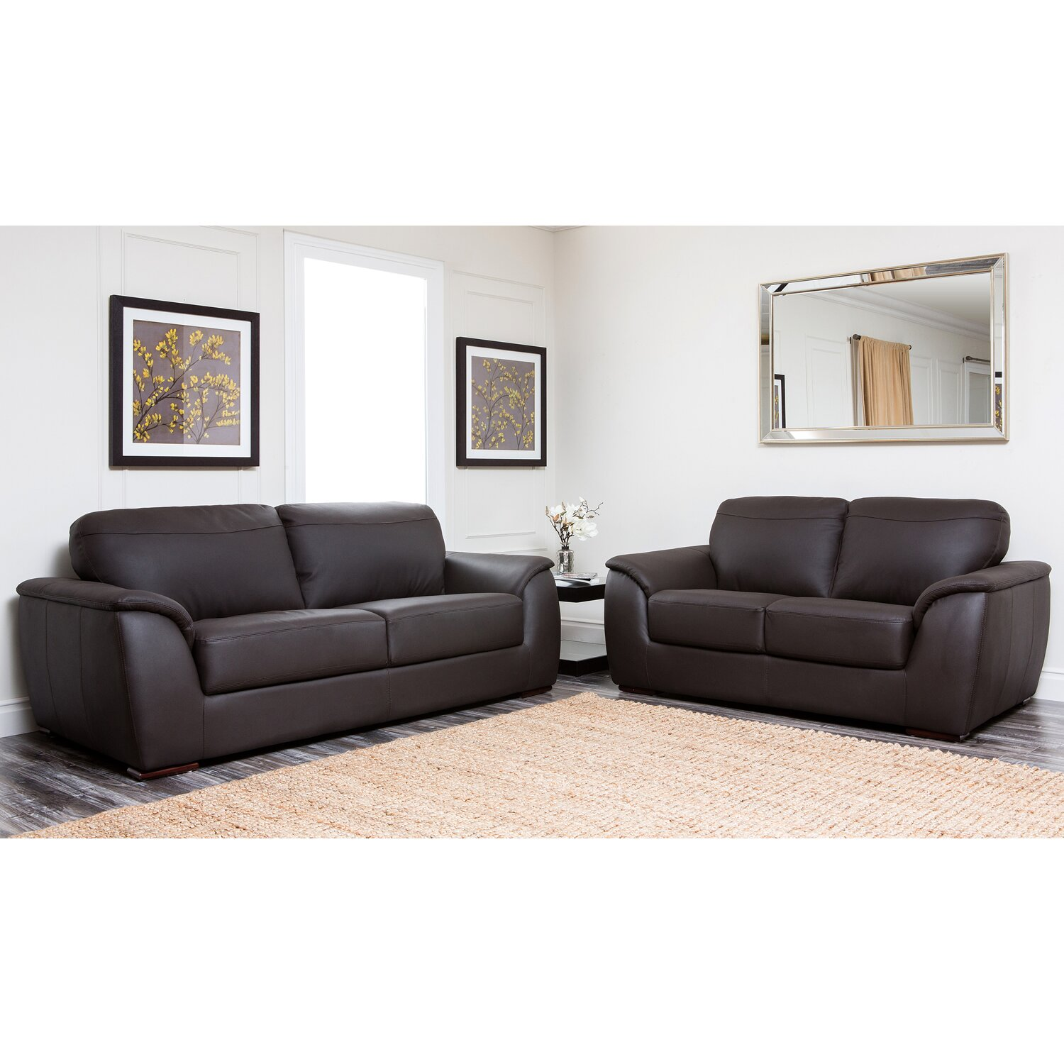 abbyson living ashton leather sofa and loveseat reviews wayfair