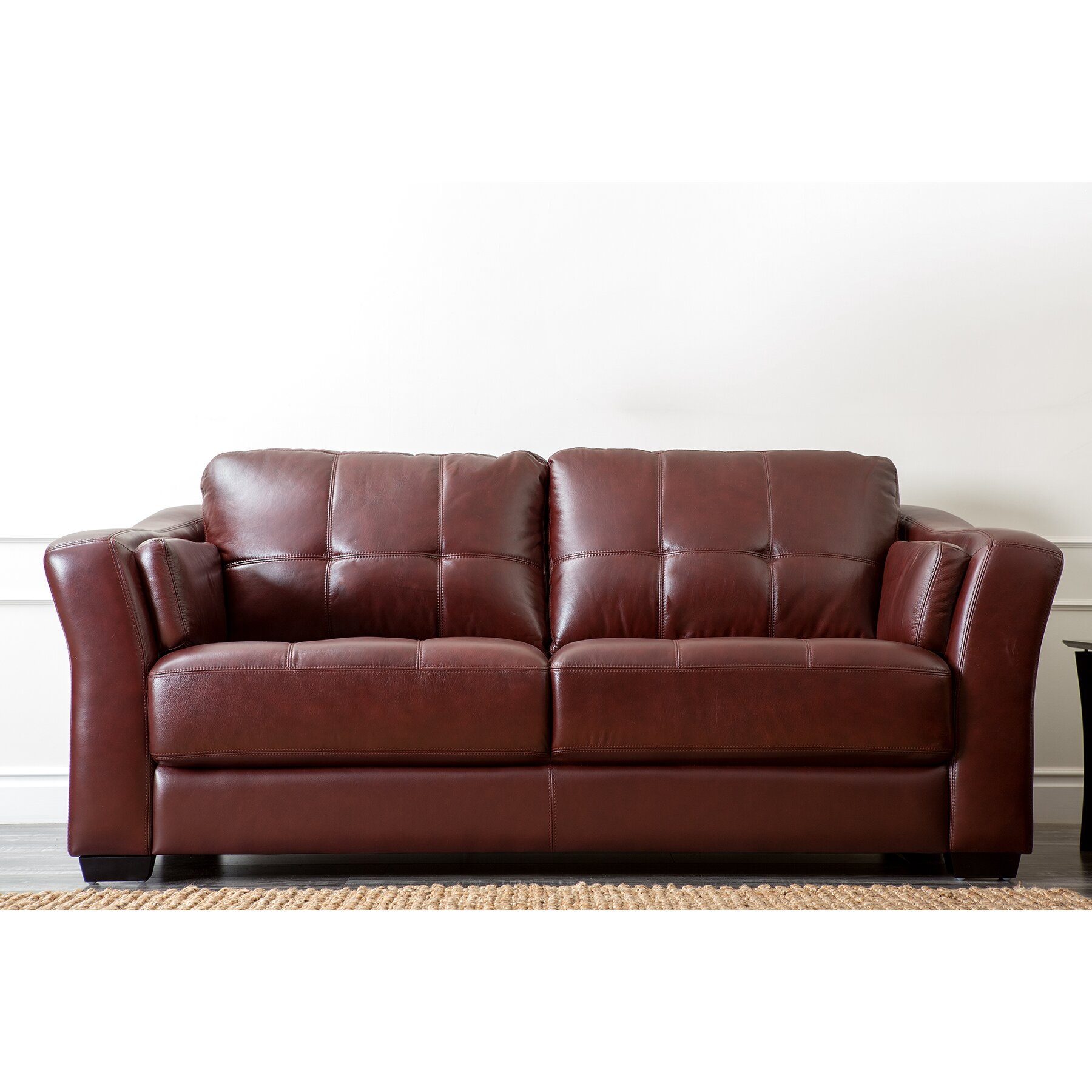 abbyson living ashburn leather sofa reviews wayfair