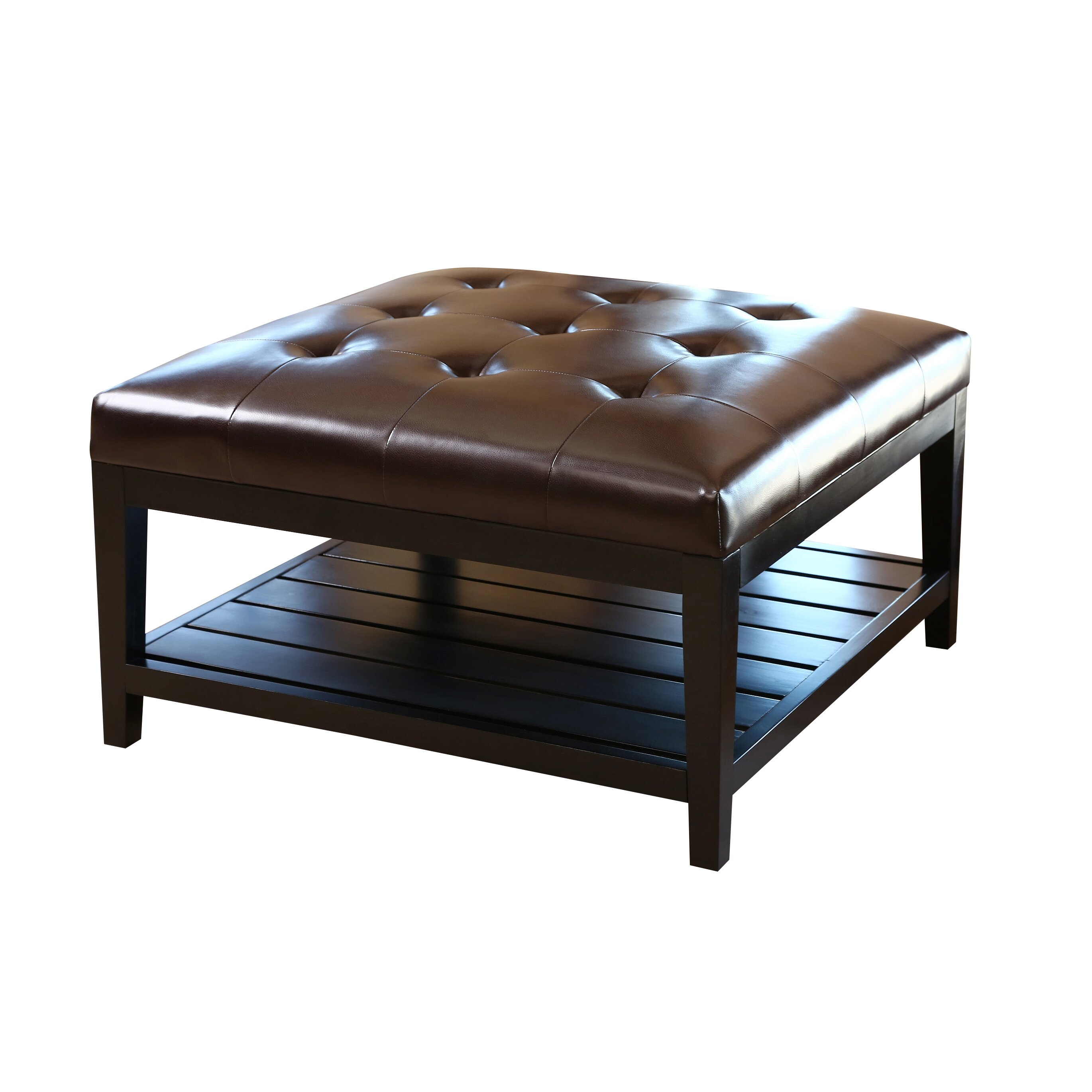 Abbyson Living Villagio Leather Coffee Table Ottoman