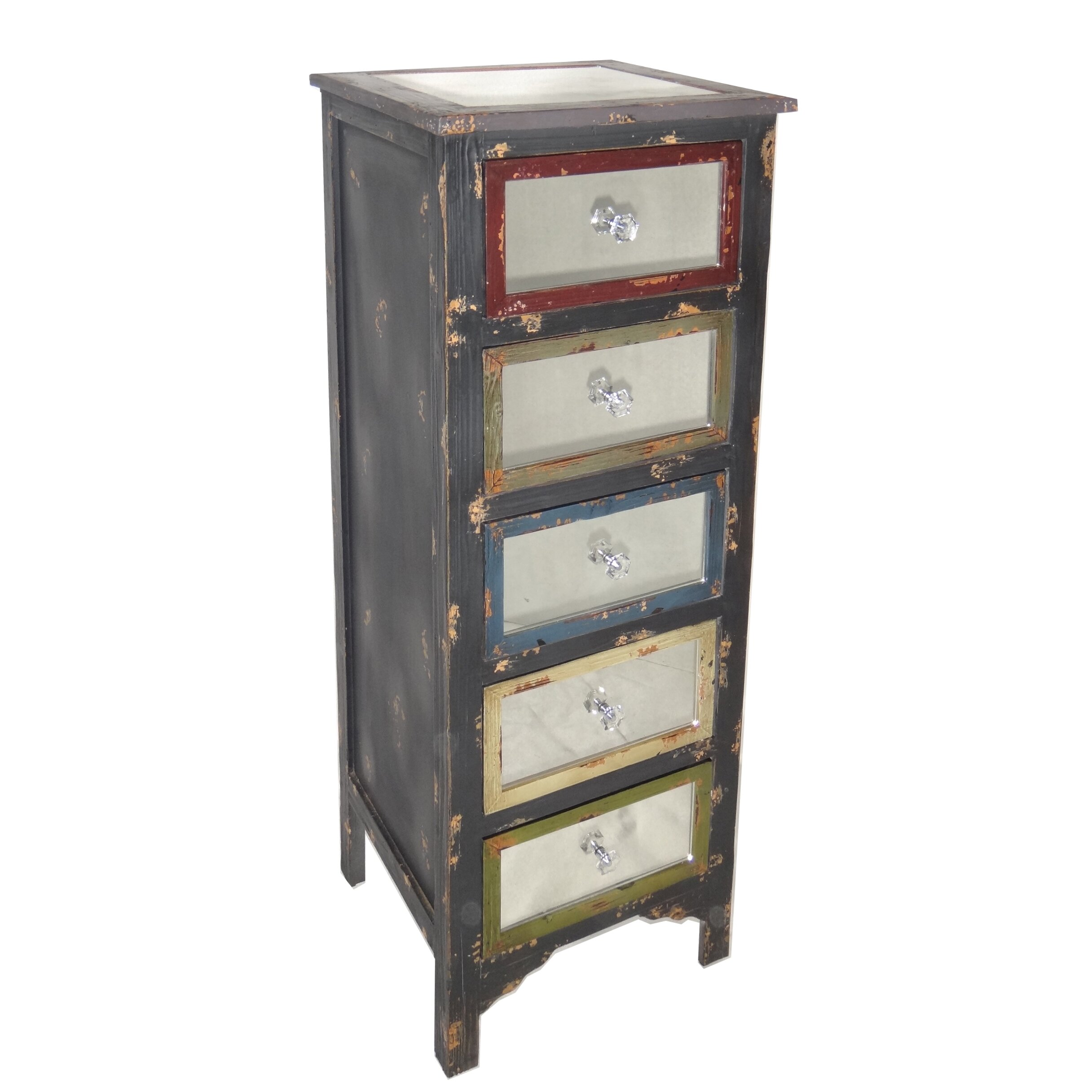 Wonderful image of Cheungs Tall Wood Cabinet with Mirror Top and Mirrored Drawers  with #67403D color and 2432x2432 pixels