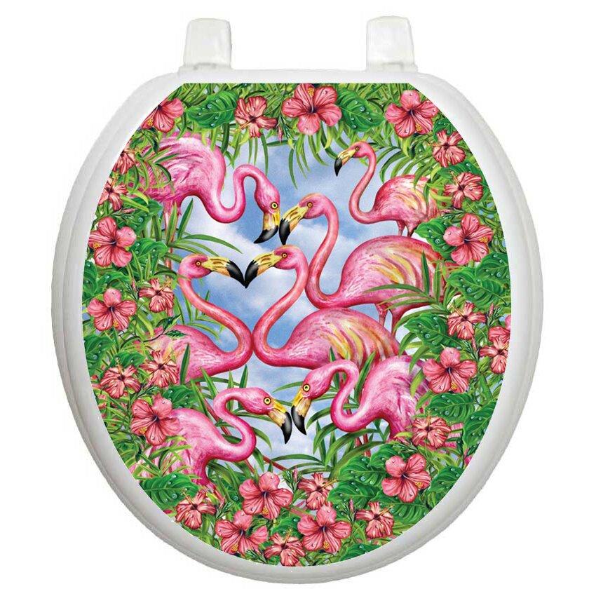 Toilet Tattoos Themes Flamingos Fancy Toilet Seat Decal