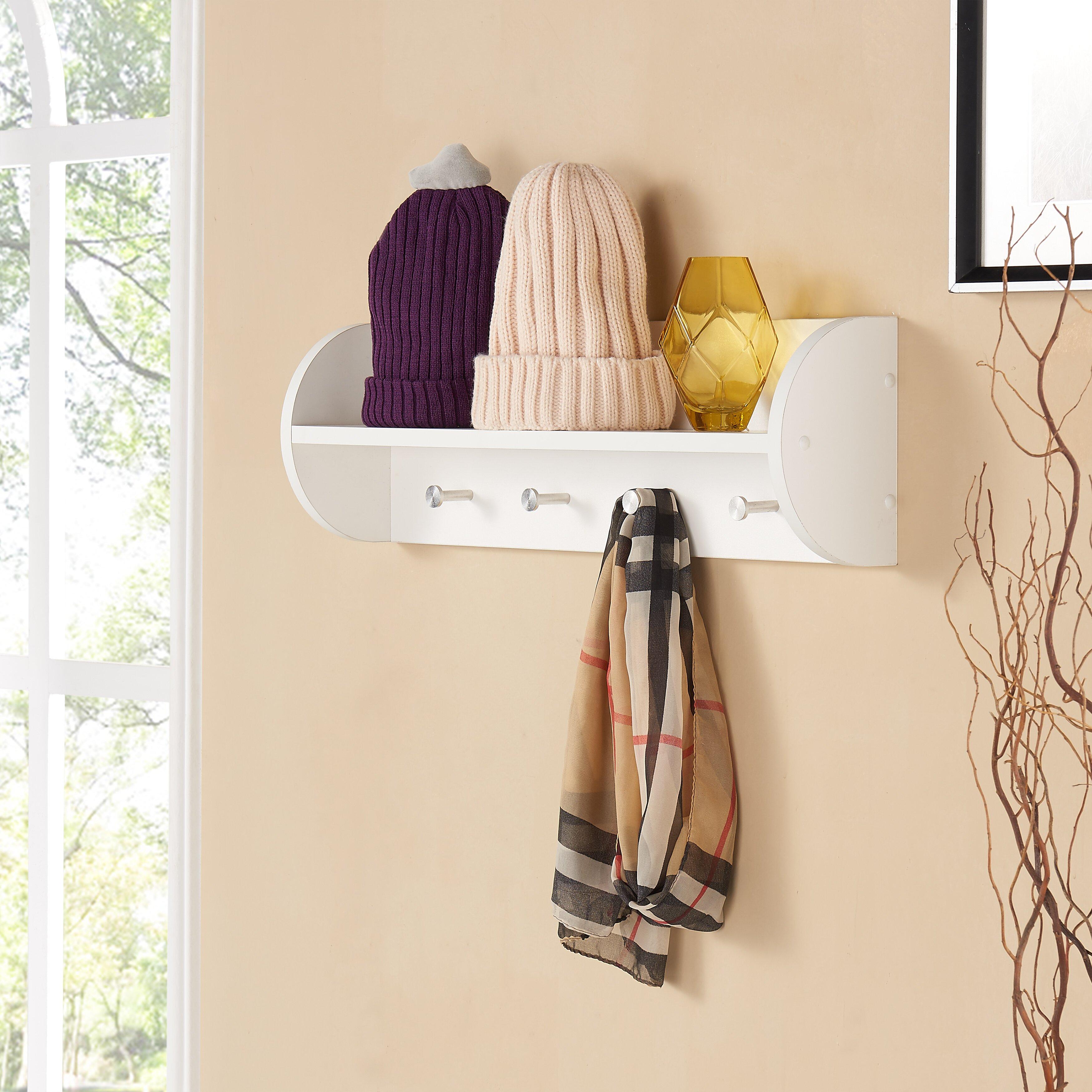 danyab wall mounted coat rack utility shelf reviews wayfair. Black Bedroom Furniture Sets. Home Design Ideas