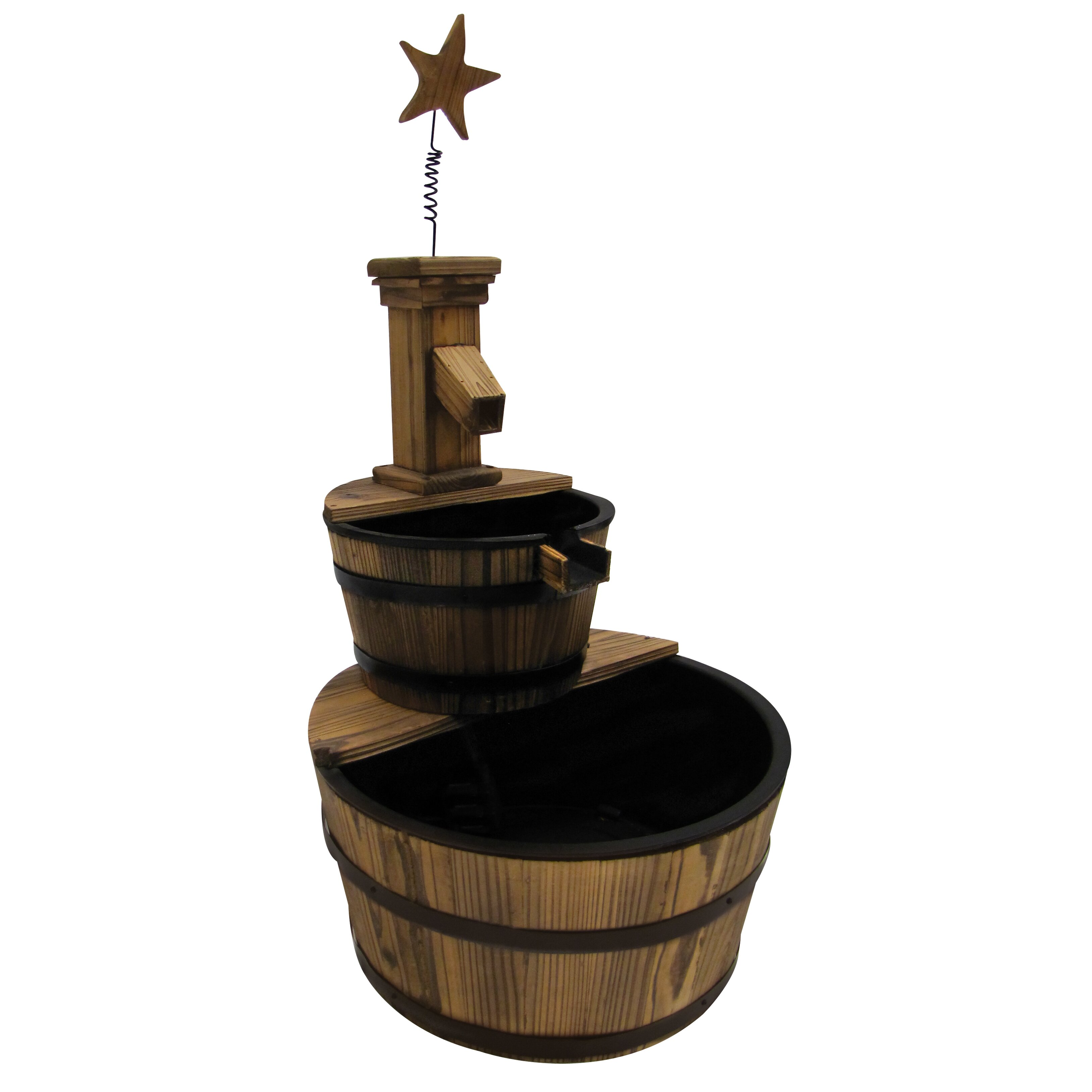 Three Stage Star Water Wood Fountain Wayfair