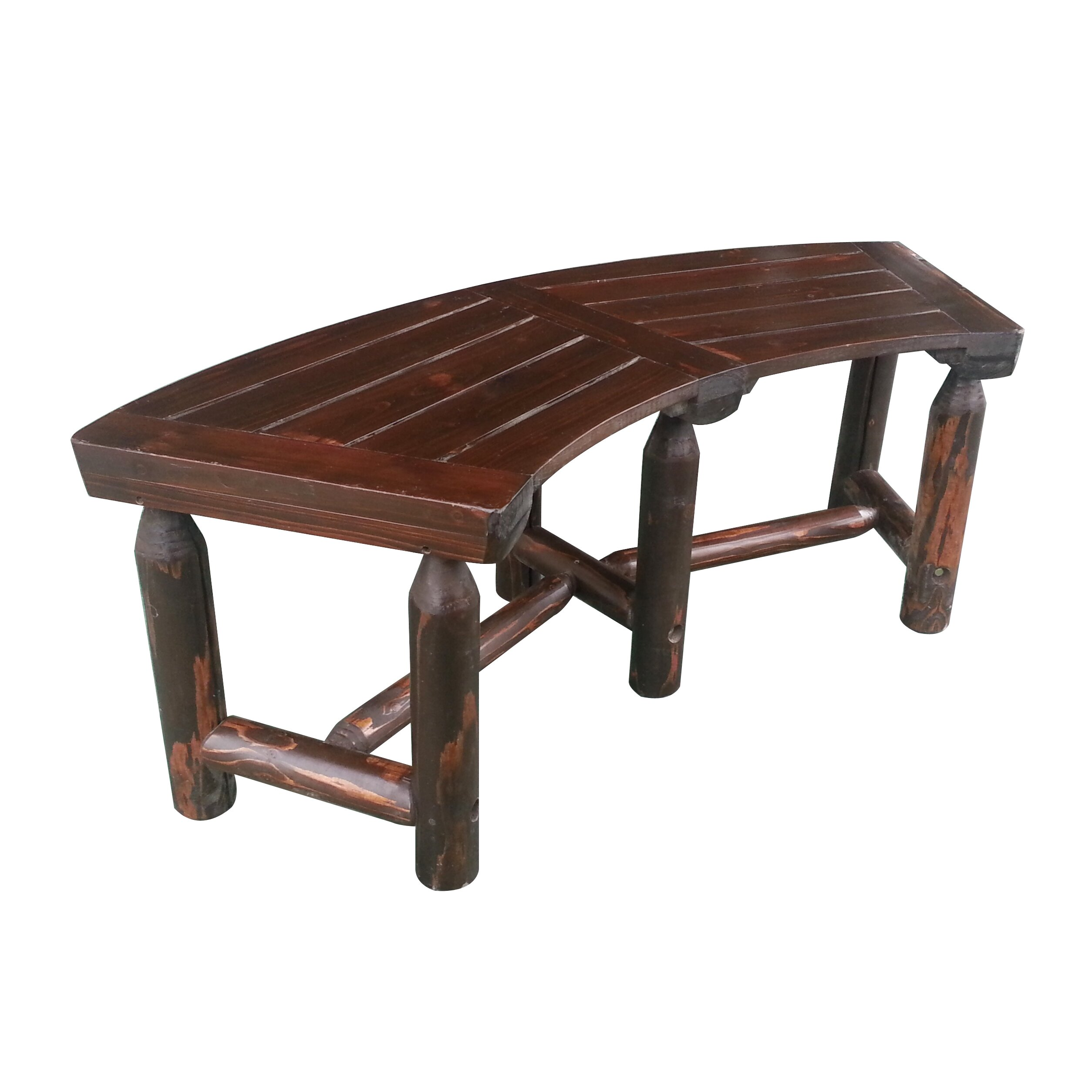 LeighCountry Char Log Curved Garden Bench & Reviews