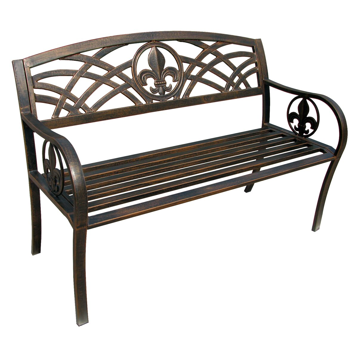 LeighCountry Fleur de Lis Metal Garden Bench Reviews
