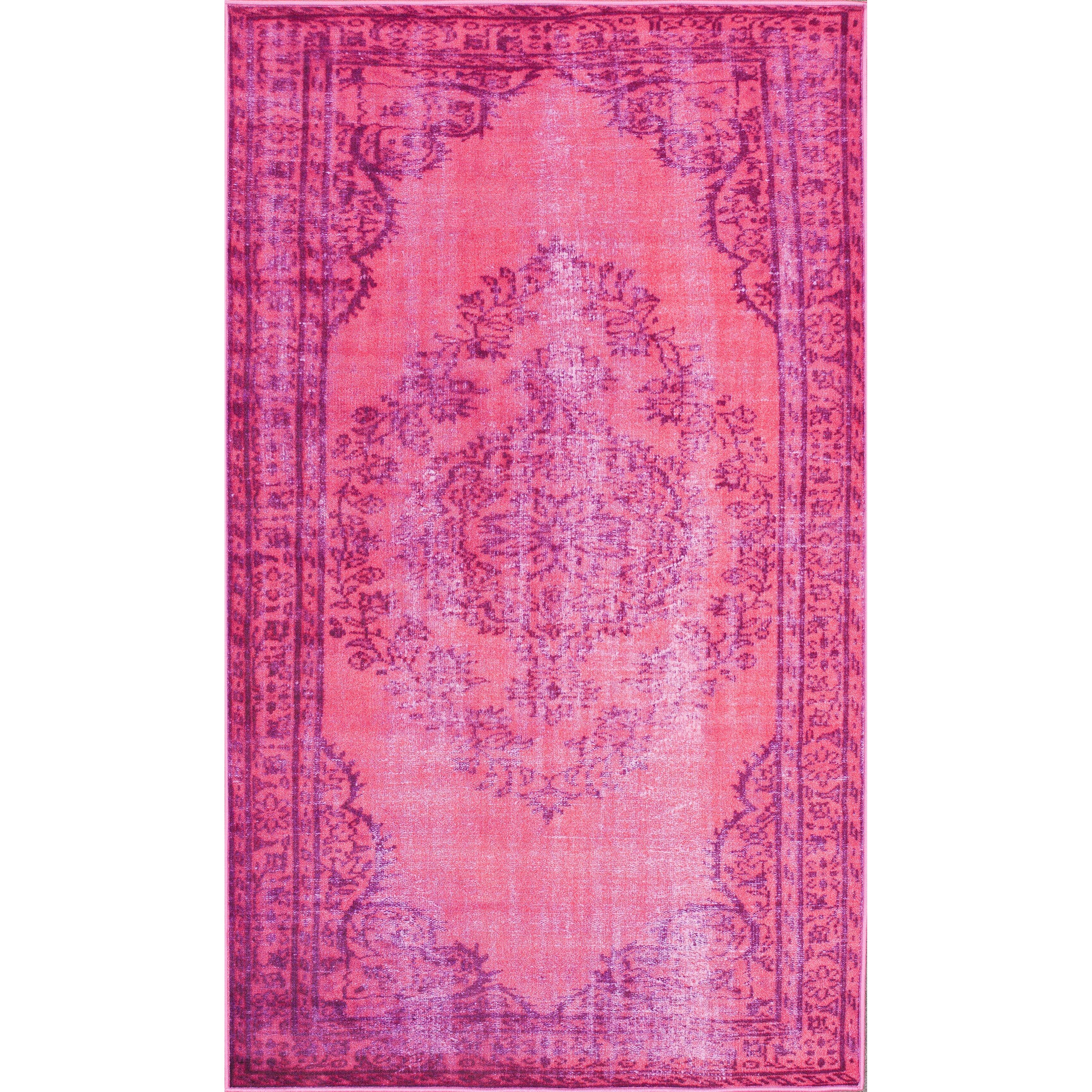 nuloom remade distressed overdyed pink area rug reviews wayfair. Black Bedroom Furniture Sets. Home Design Ideas