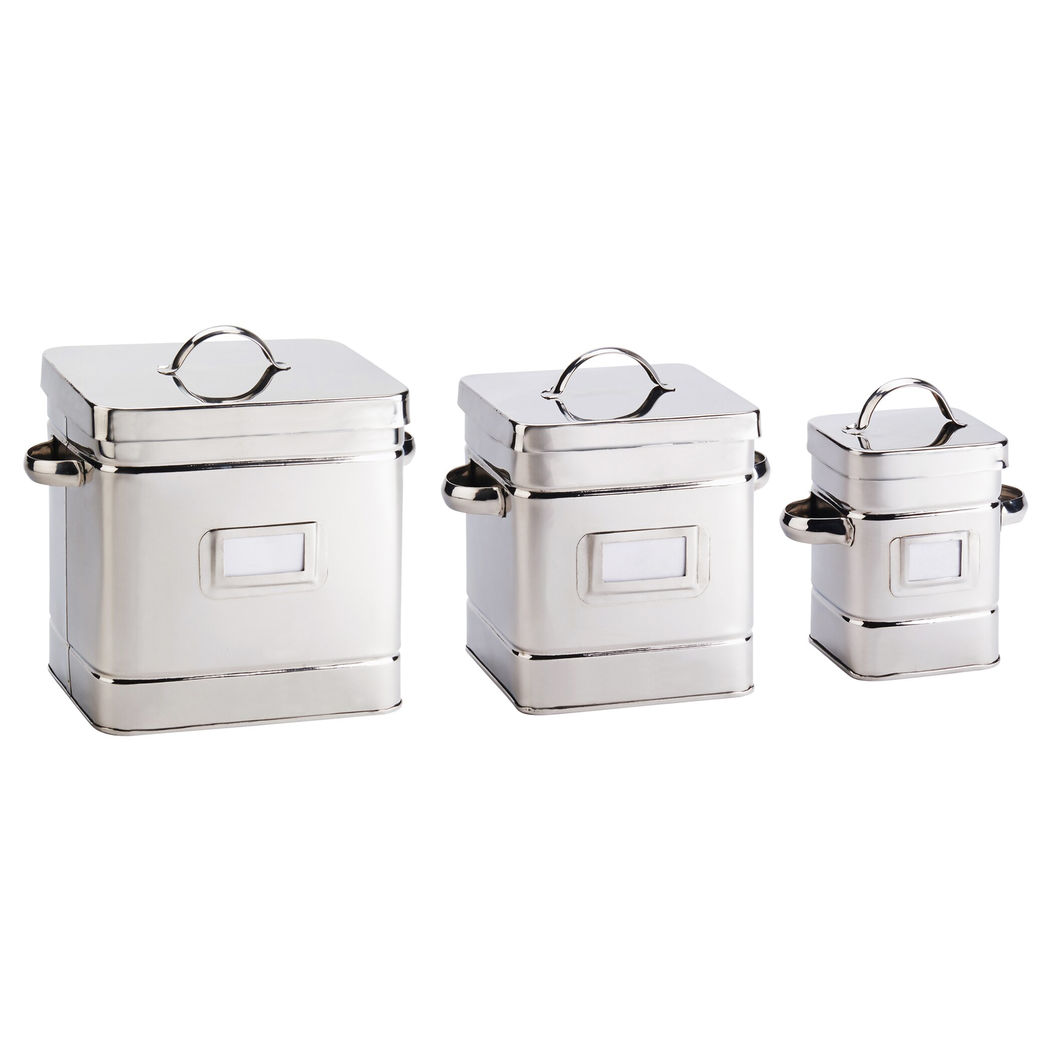 global amici 3 piece cambridge stainless steel canister kitchen canisters stainless steel designcorner