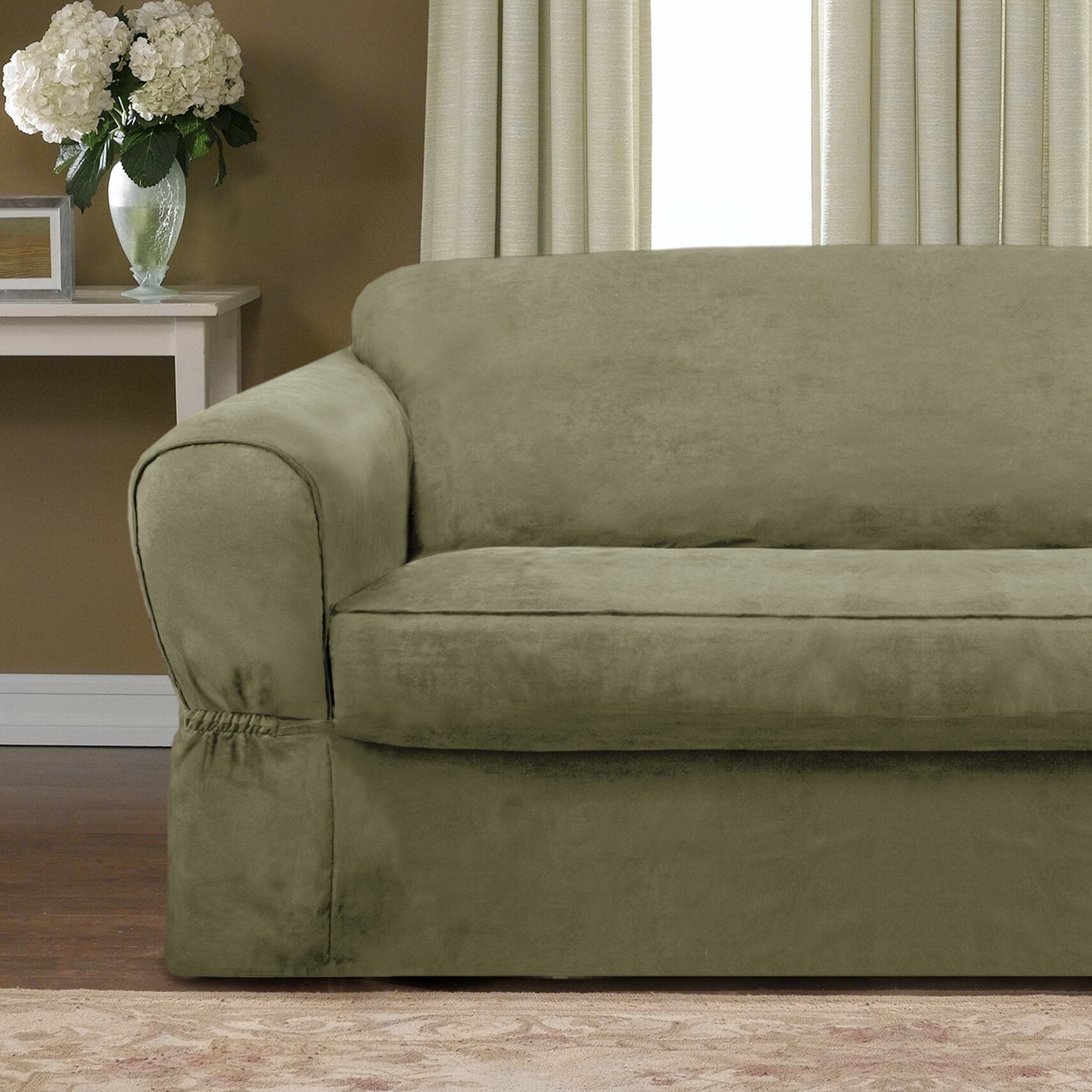 Maytex Piped Suede Separate Seat Sofa Slipcover Amp Reviews