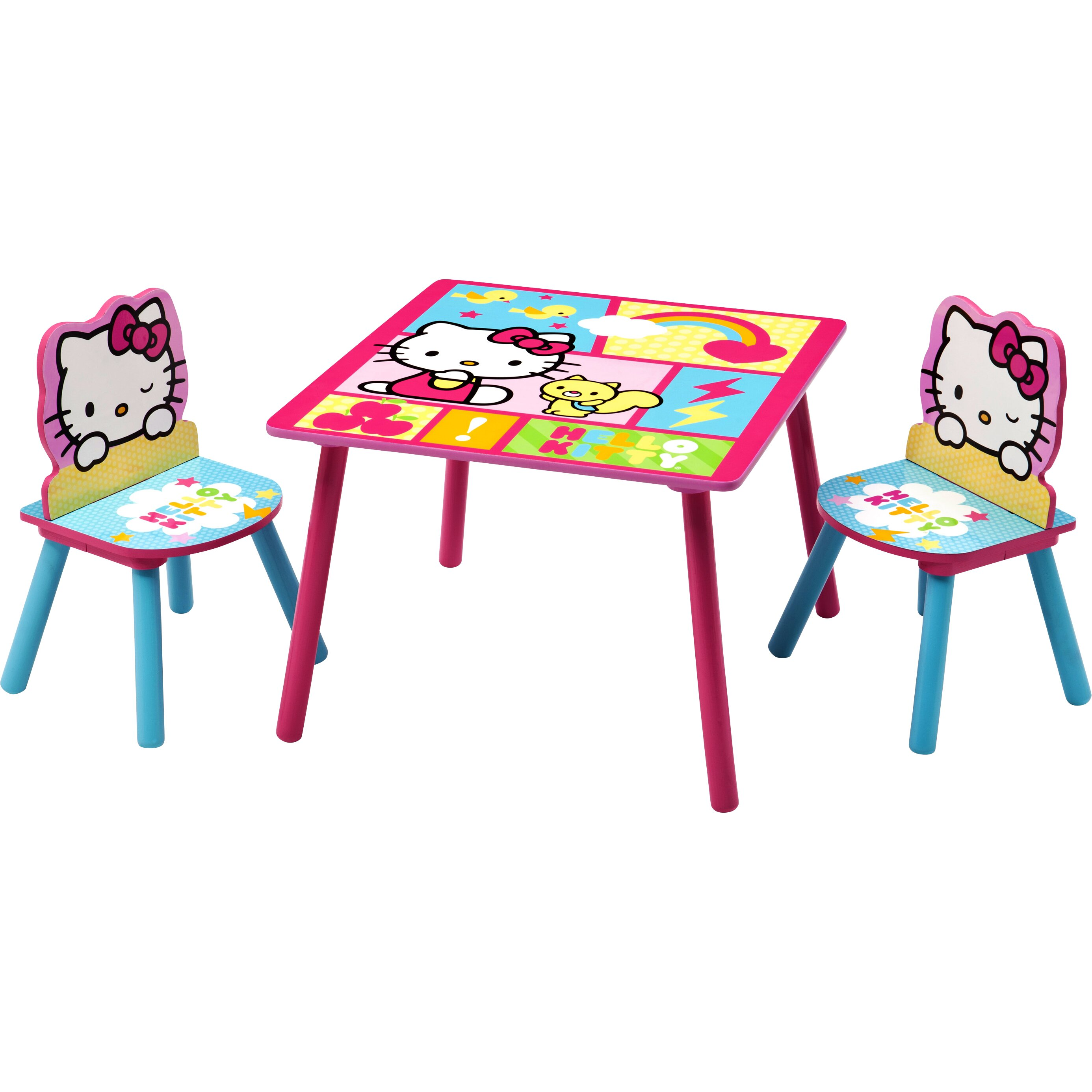 Delta children hello kitty kids 39 3 piece table chair set for Table exterieur hello kitty
