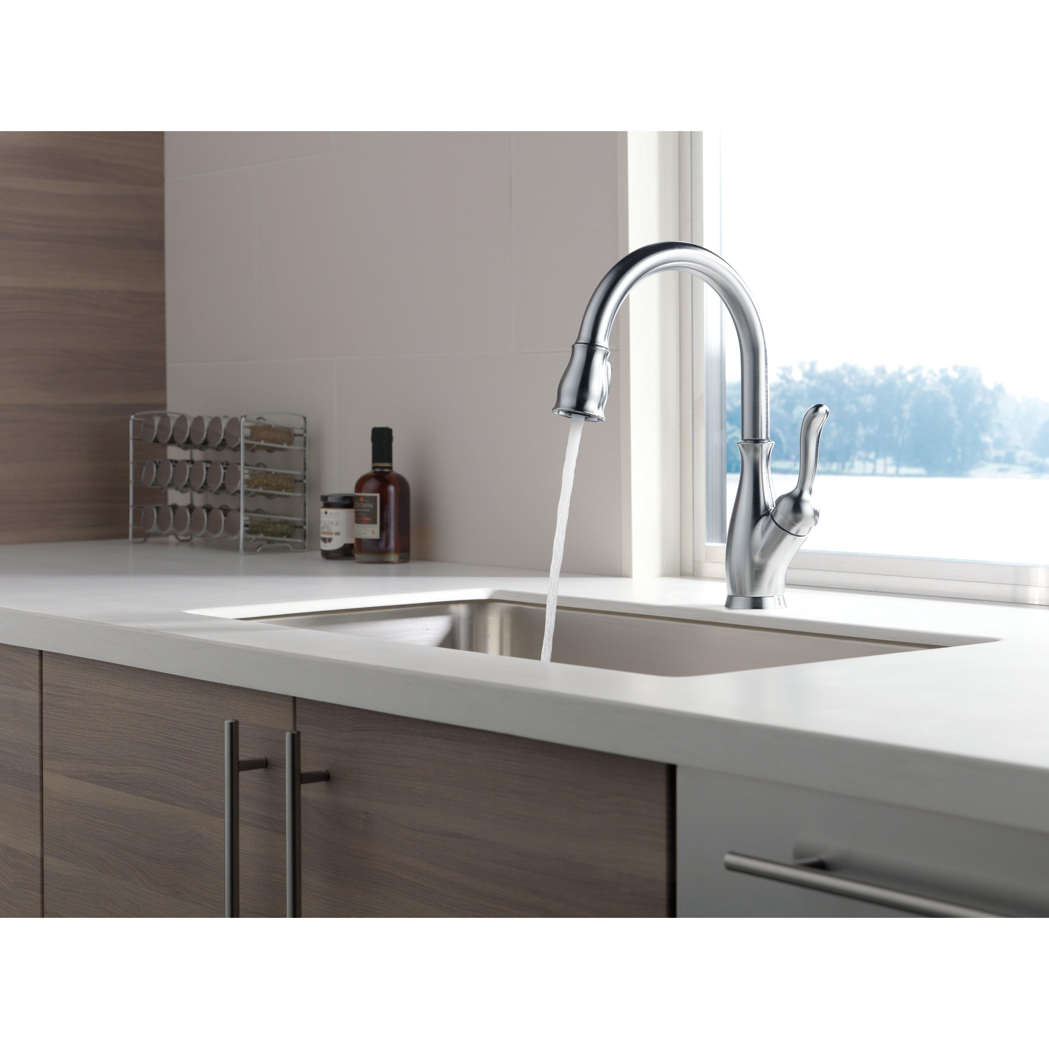 delta leland single handle deck mounted kitchen faucet