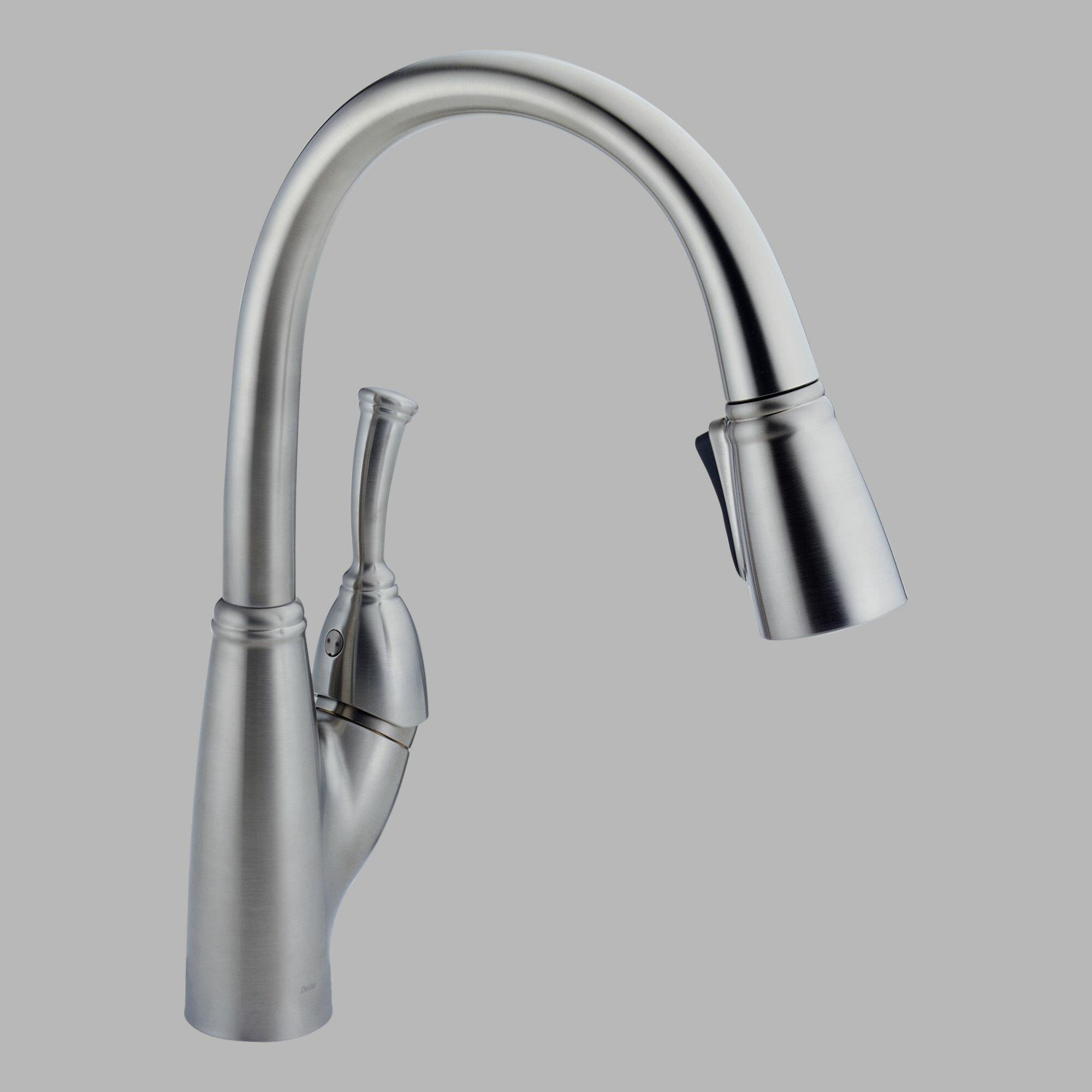 delta allora single handle deck mounted kitchen faucet a 700 bn single handle pull out kitchen faucet allora