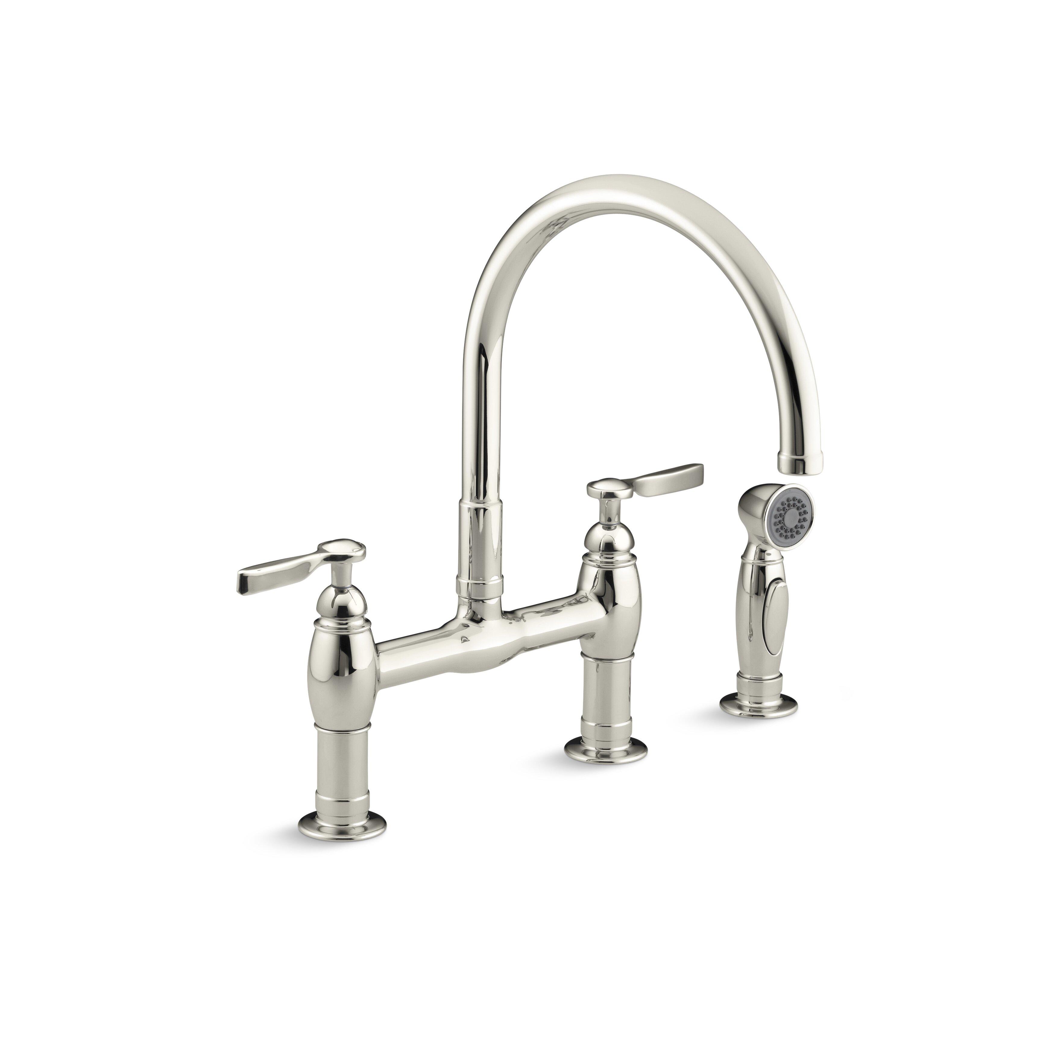 kohler parq two hole deck mount bridge kitchen sink faucet how to remove the spout on a kohler gooseneck faucet diy