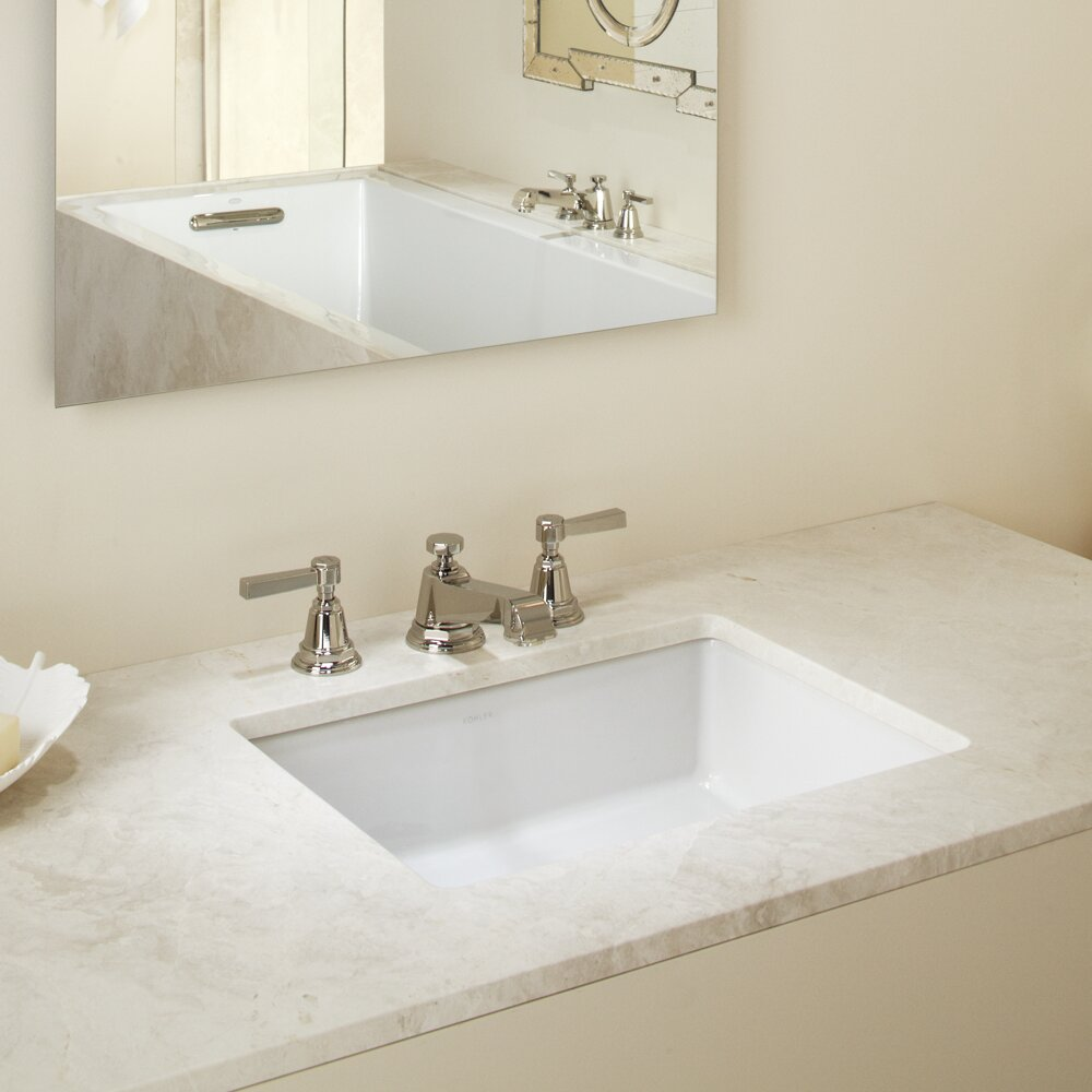 Kohler verticyl rectangular undermount bathroom sink with for Bathroom undermount sinks