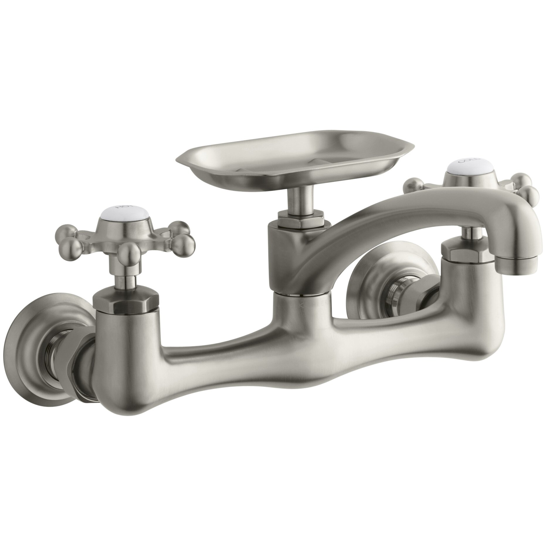 Kohler Antique Kitchen Faucet: Antique Two-Hole Wall-Mount Kitchen Sink Faucet With 8