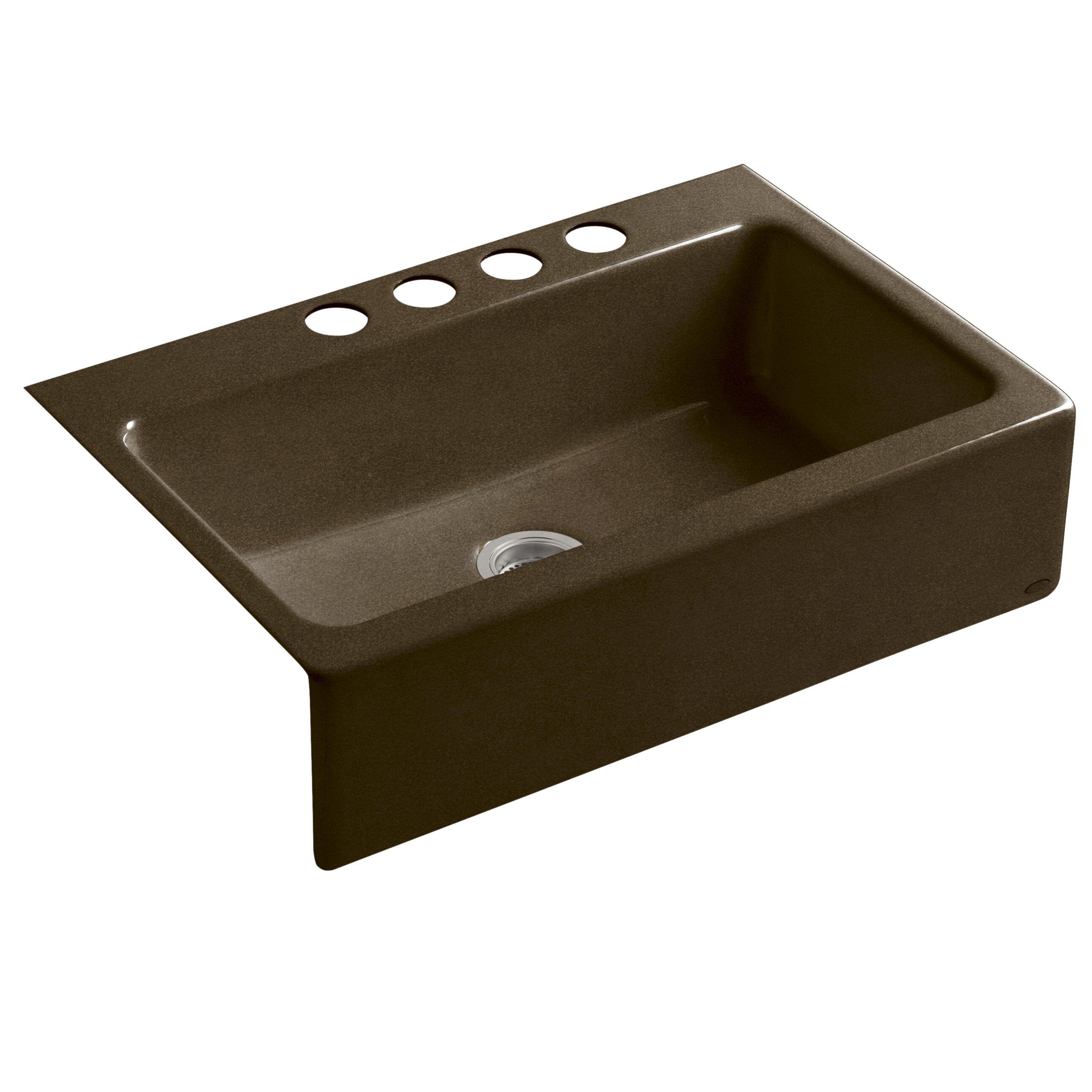Kohler dickinson 33 x 22 1 8 x 8 3 4 apron front under mount single bowl kitchen sink with 4 - Kohler dickinson apron front sink ...