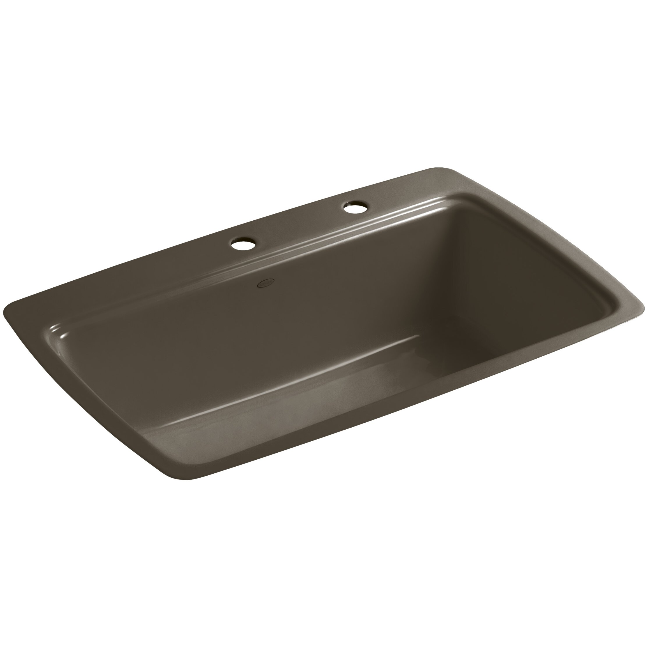 Kohler Single Basin Kitchen Sink : Kohler Cape Dory Tile-In Single-Bowl Kitchen Sink with 2 Faucet Holes ...