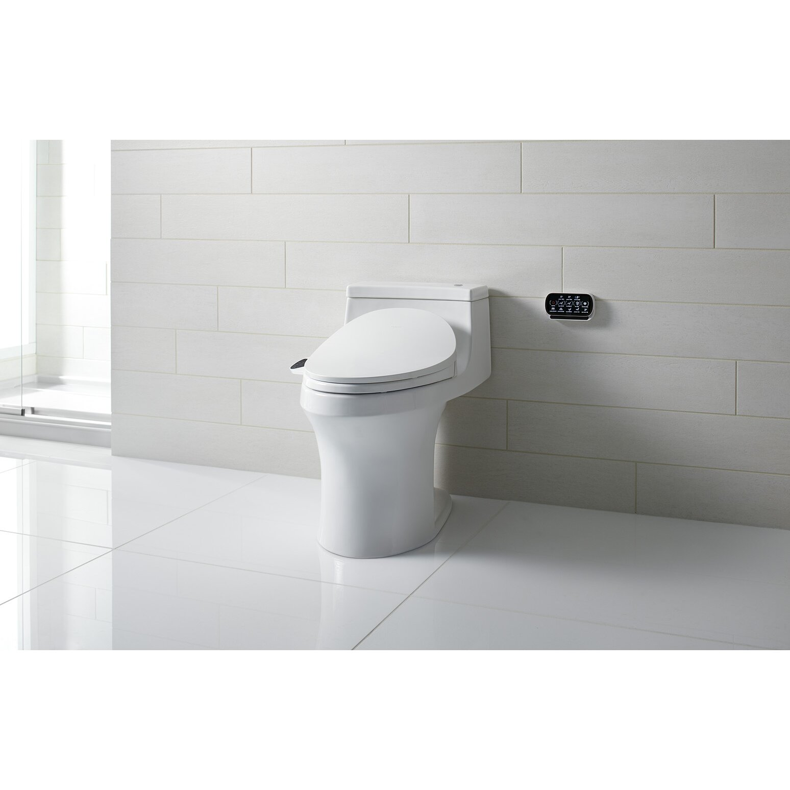 kohler c3 230 c3 230 elongated bidet toilet seat with in line heater and touchscreen remote. Black Bedroom Furniture Sets. Home Design Ideas