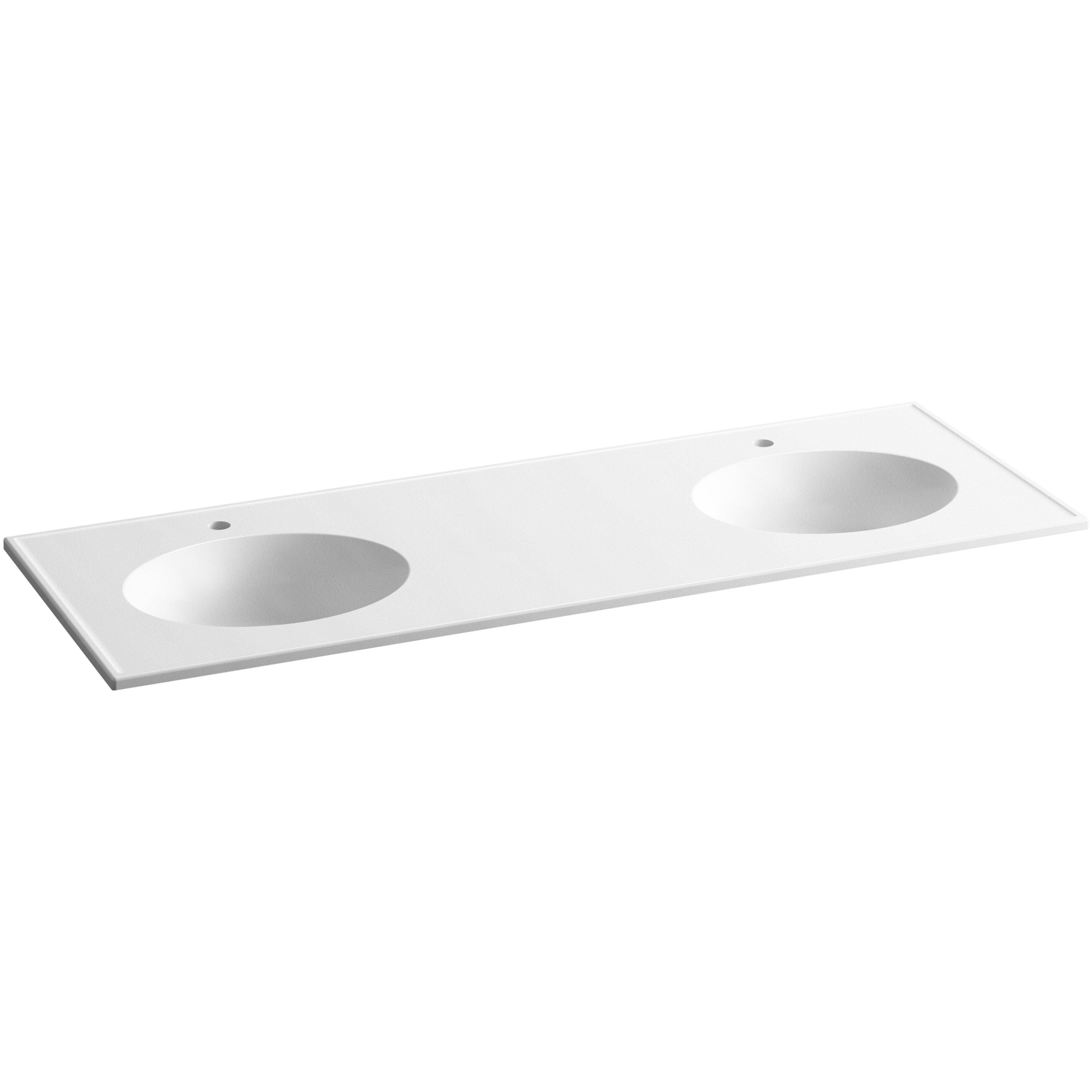 "Double Bowl Vanity Tops For Bathrooms: Ceramic/Impressions 61"" Oval Double-Bowl Vanity-Top"