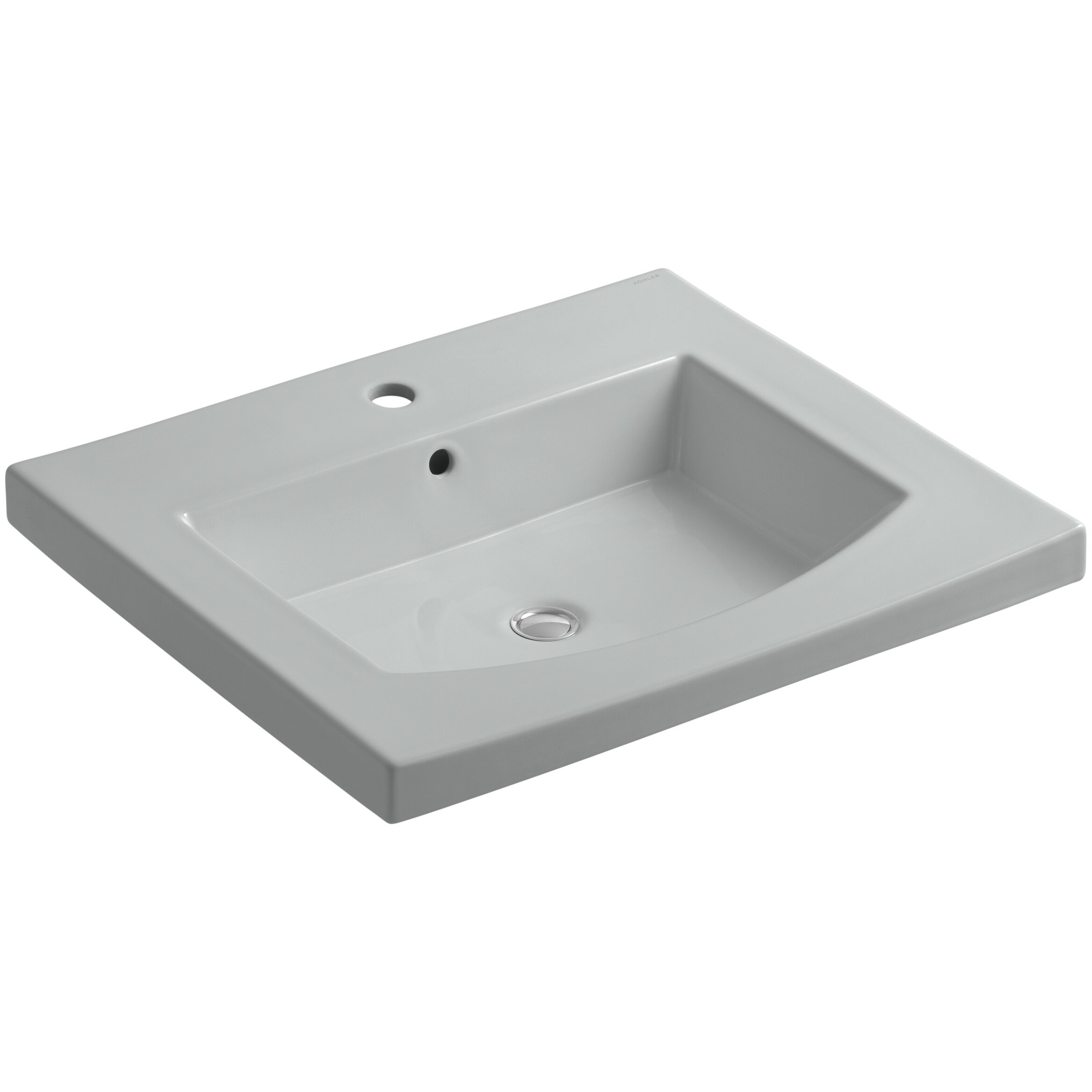 Kohler persuade vanity top bathroom sink with single for Single hole faucet bathroom sink