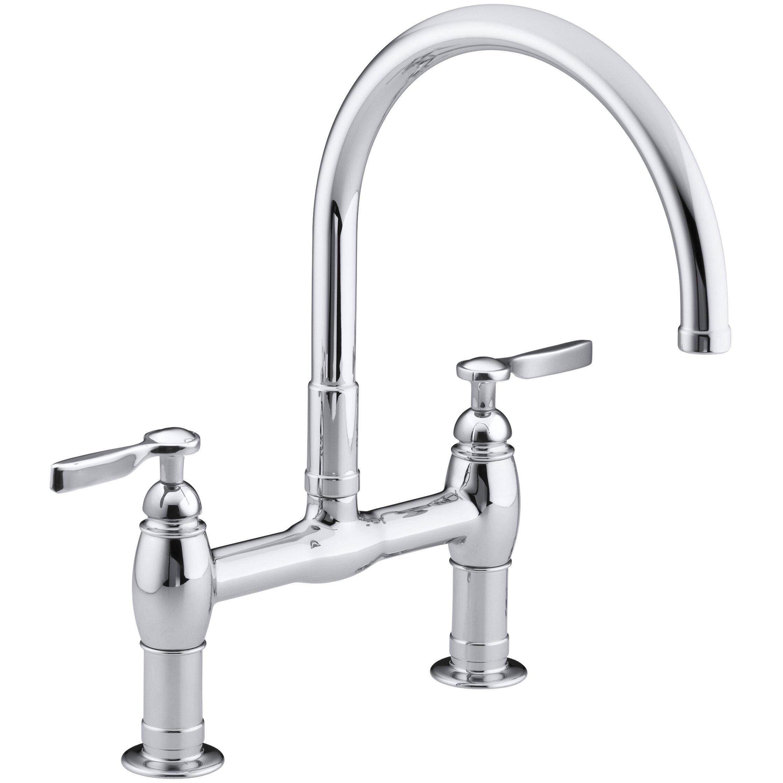 kohler parq two hole deck mount kitchen sink faucet with 9 kohler parq two hole deck mount bridge kitchen sink faucet