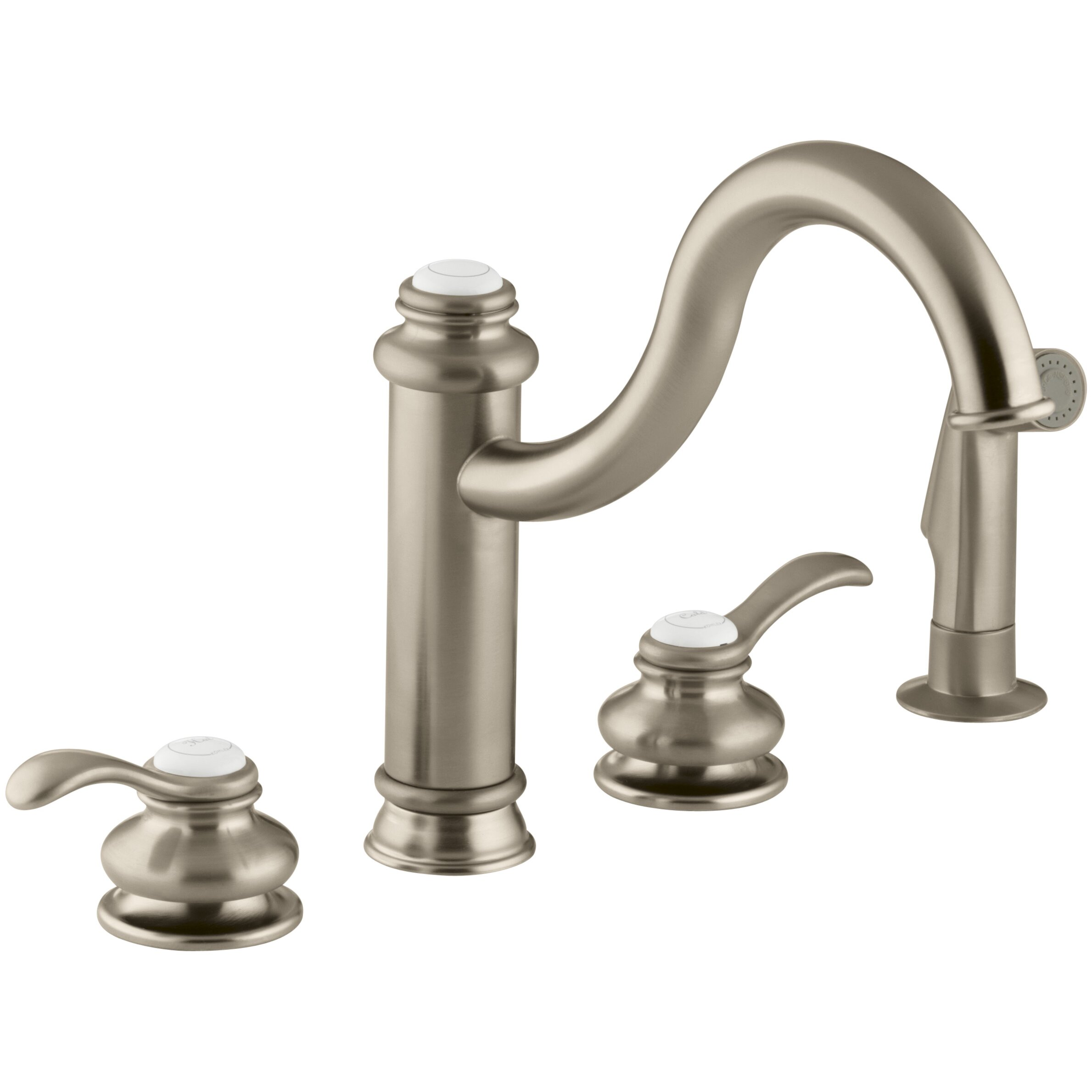 kohler fairfax 4 hole kitchen sink faucet with 9 3 8 spout matching