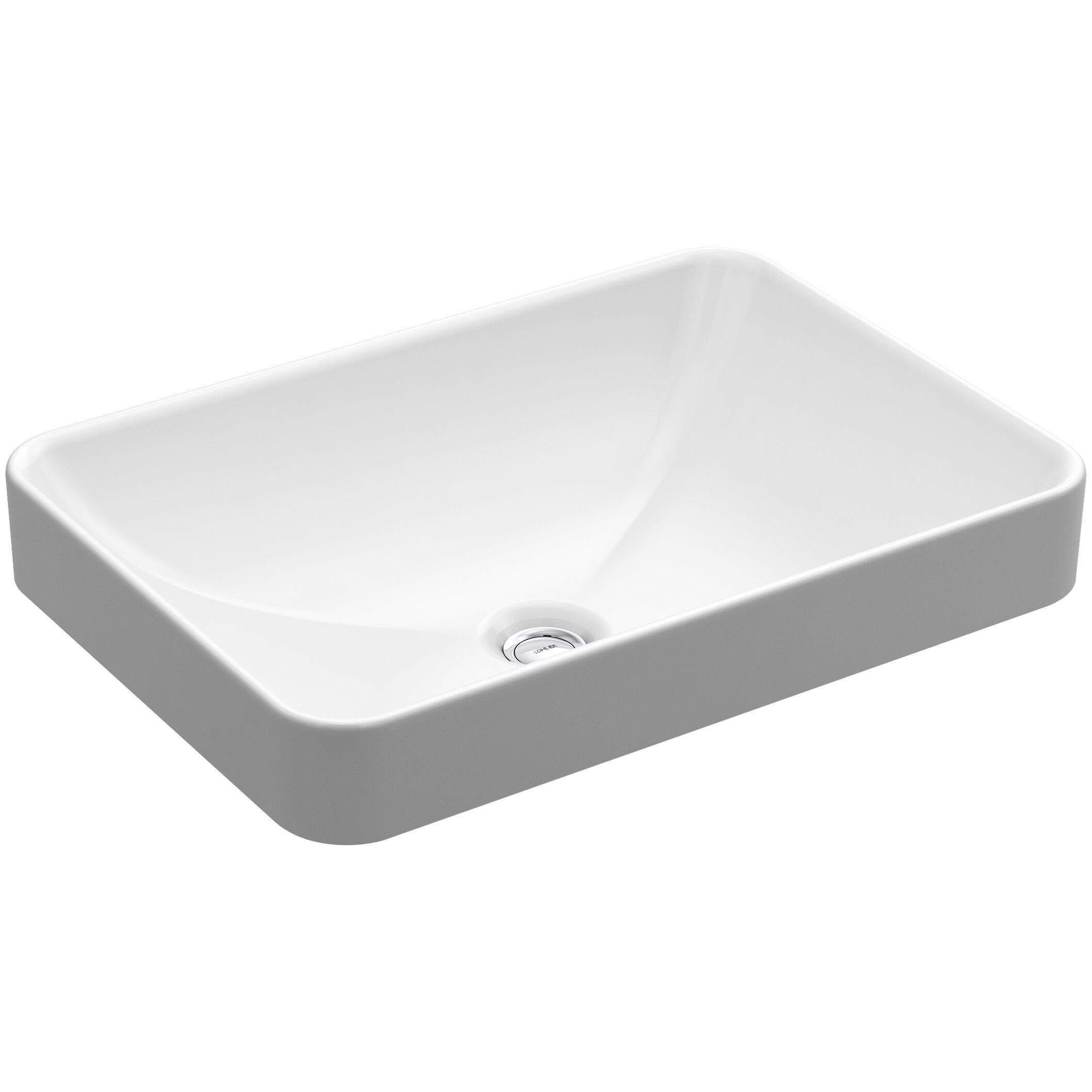 Kohler Vox Rectangle Vessel Counter Bathroom Sink in