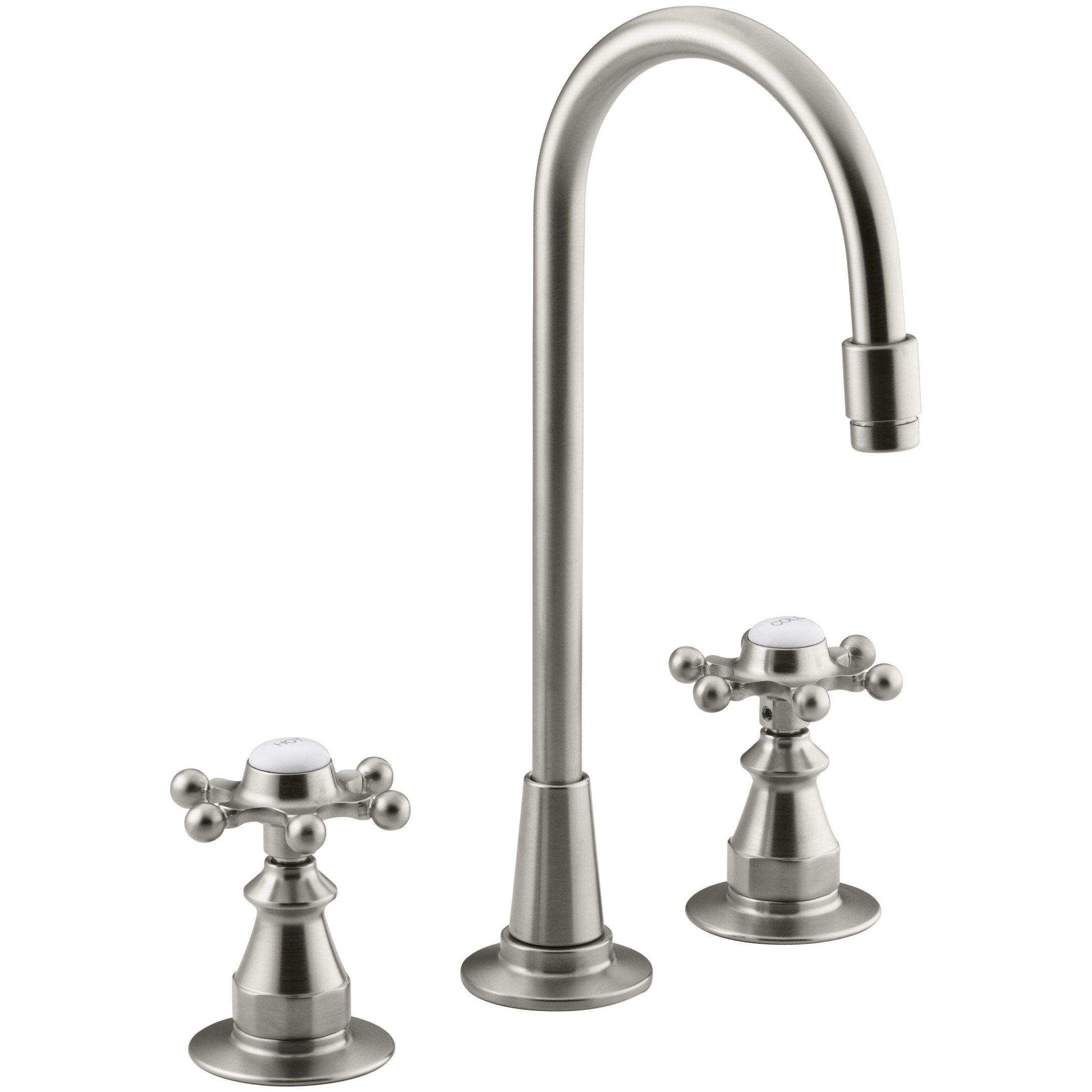 Kohler Bar Sink Faucet : Kohler Antique Three-Hole Bar Sink Faucet with 6-Prong Handles