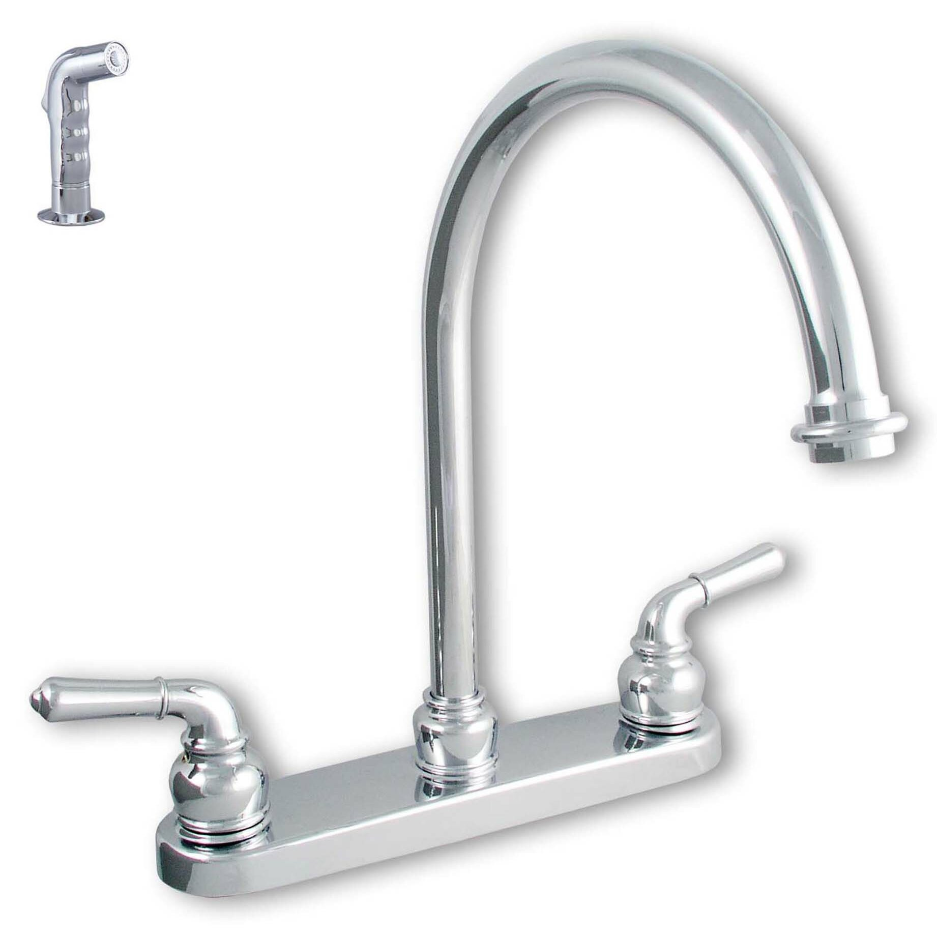 Double handle centerset kitchen faucet wayfair for Handle kitchen set