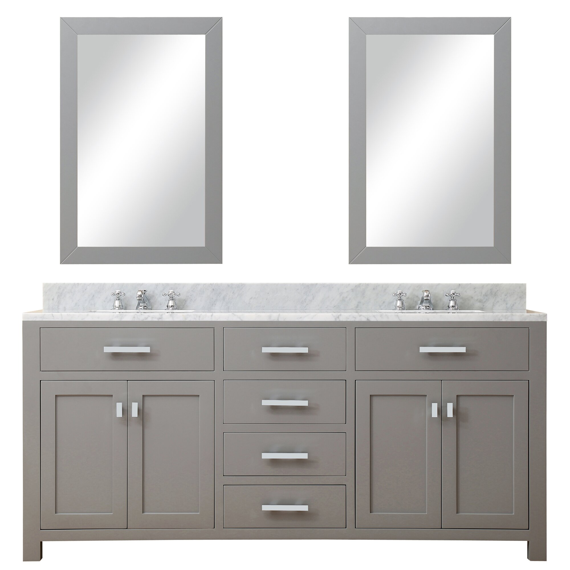 "72 Madison Double Vessel Sink Vanity: Madison 72"" Double Sink Bathroom Vanity Set With Mirror"