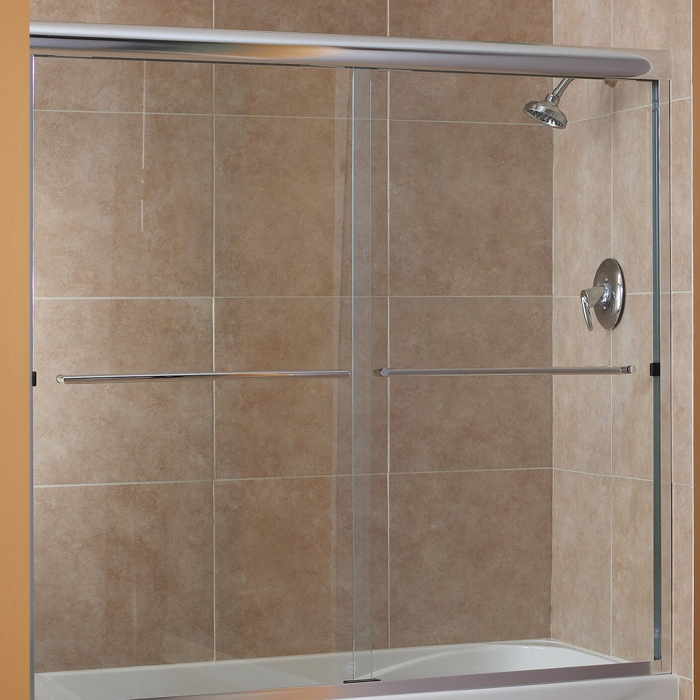 Foremost cove 55 x 50 54 frameless sliding tub door for Door 55 reviews