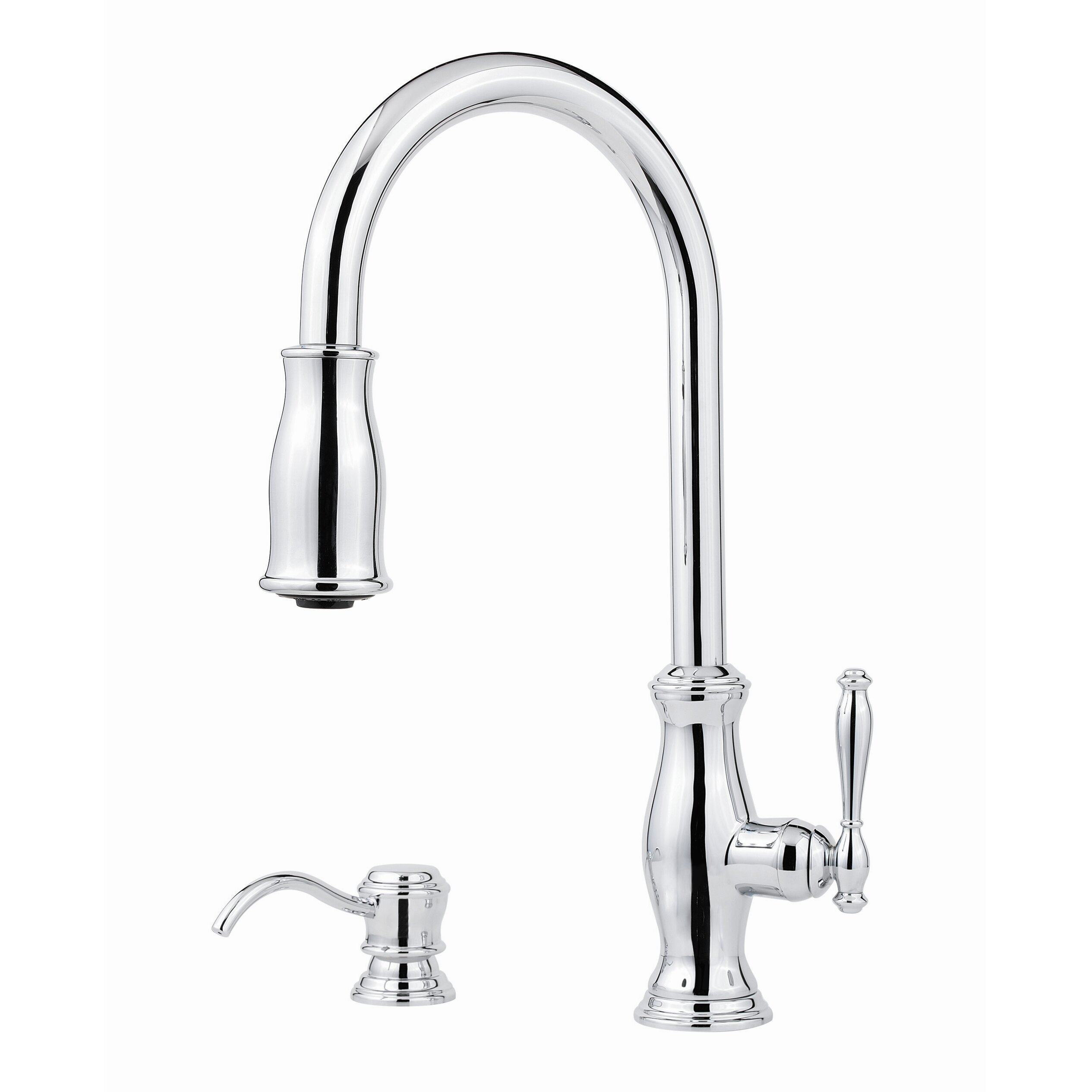 Pfister Hanover Single Handle Deck Mounted Kitchen Faucet With Soap Dispenser Reviews Wayfair